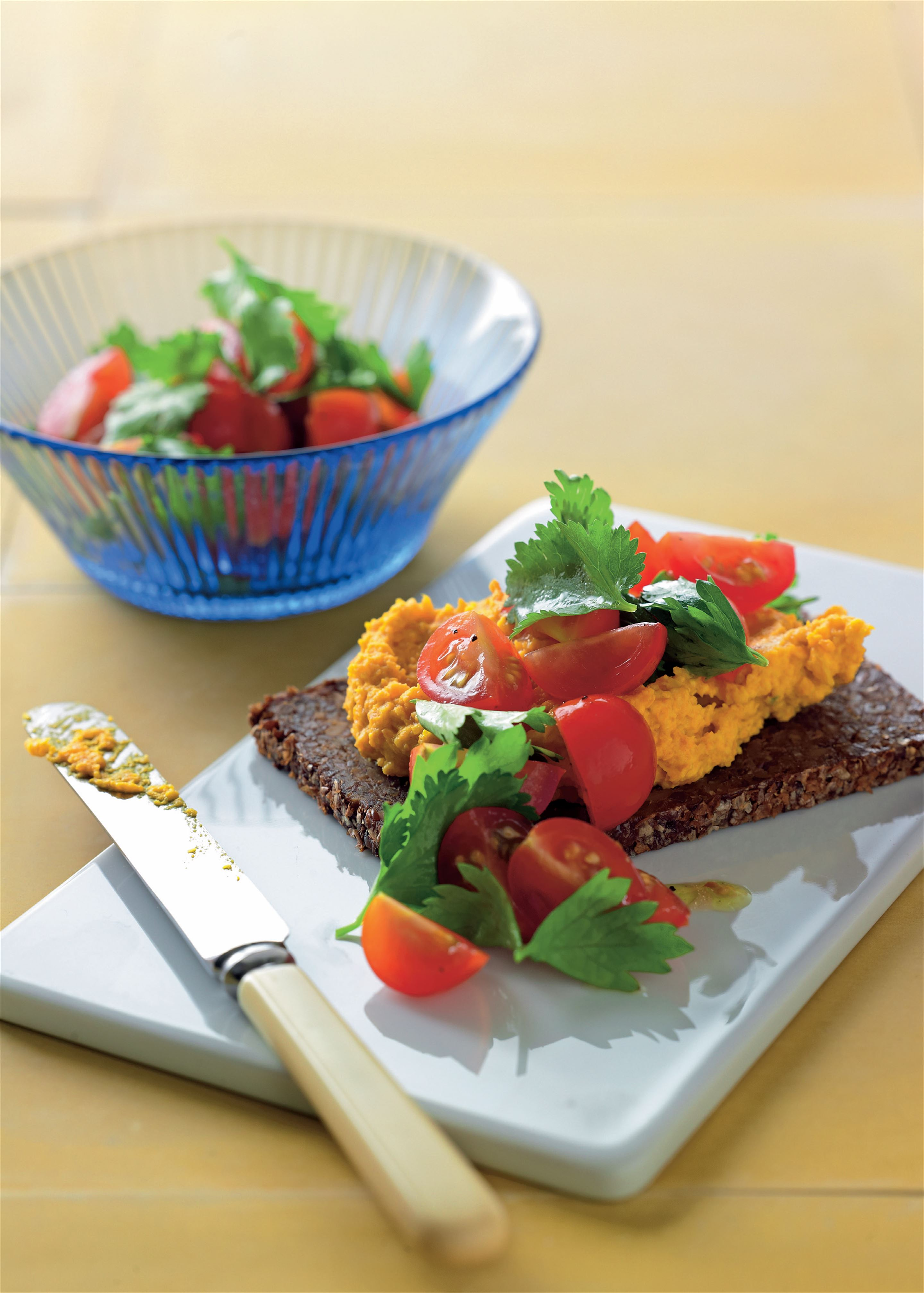 Roasted carrot hummus with fresh tomato salsa