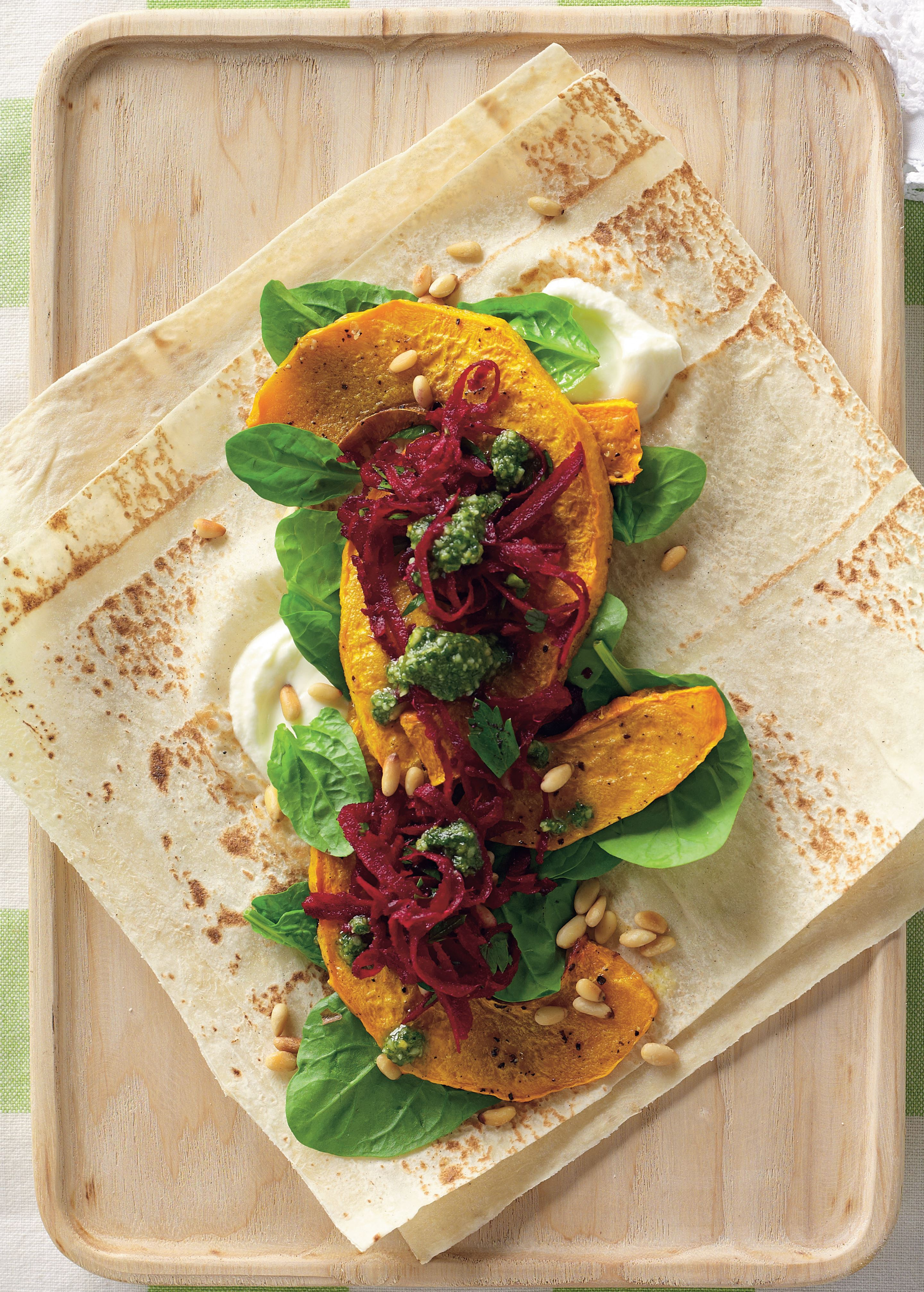 Roasted pumpkin, labne, beetroot and pesto wrap