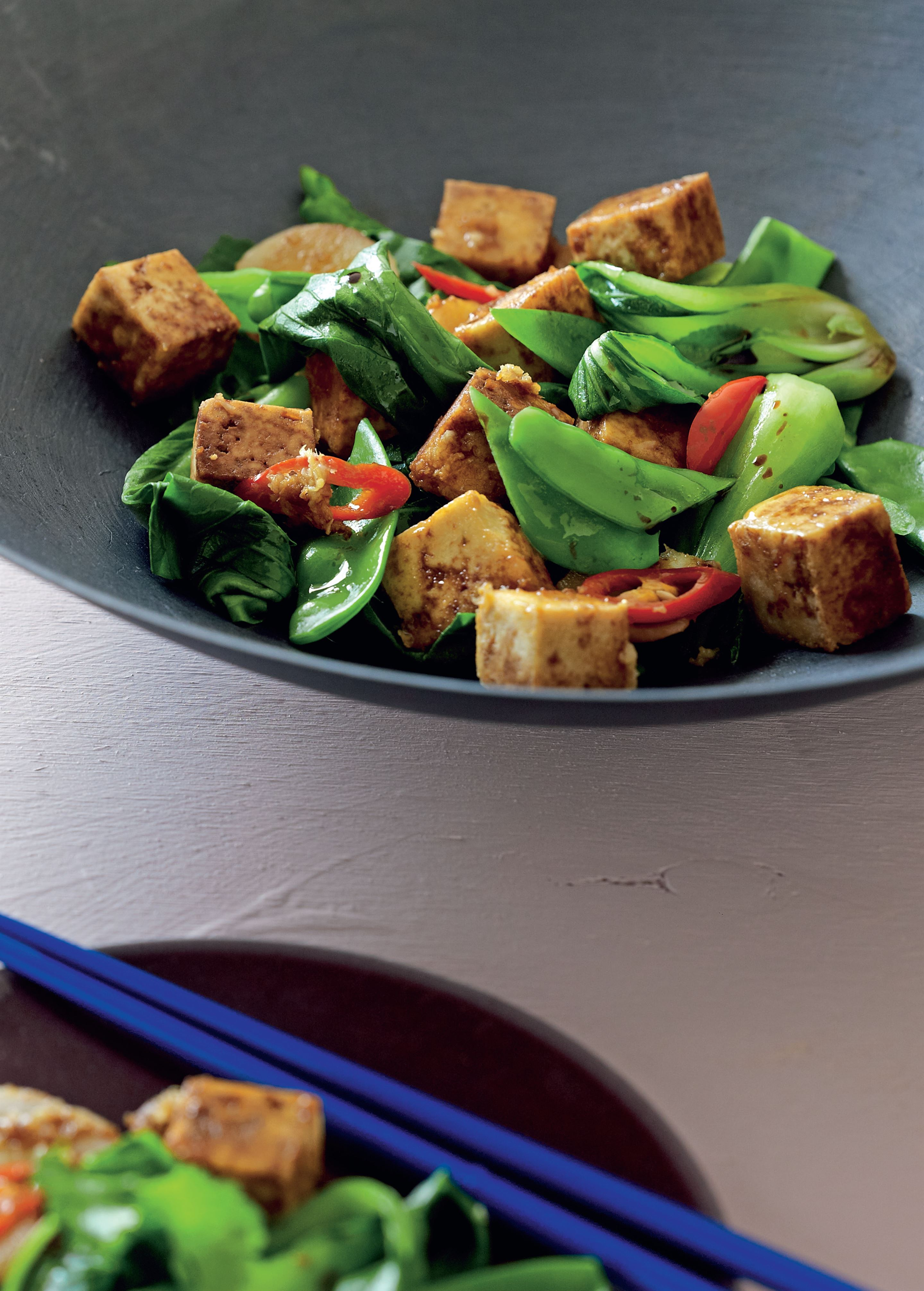 Stir-fried tofu with Asian greens