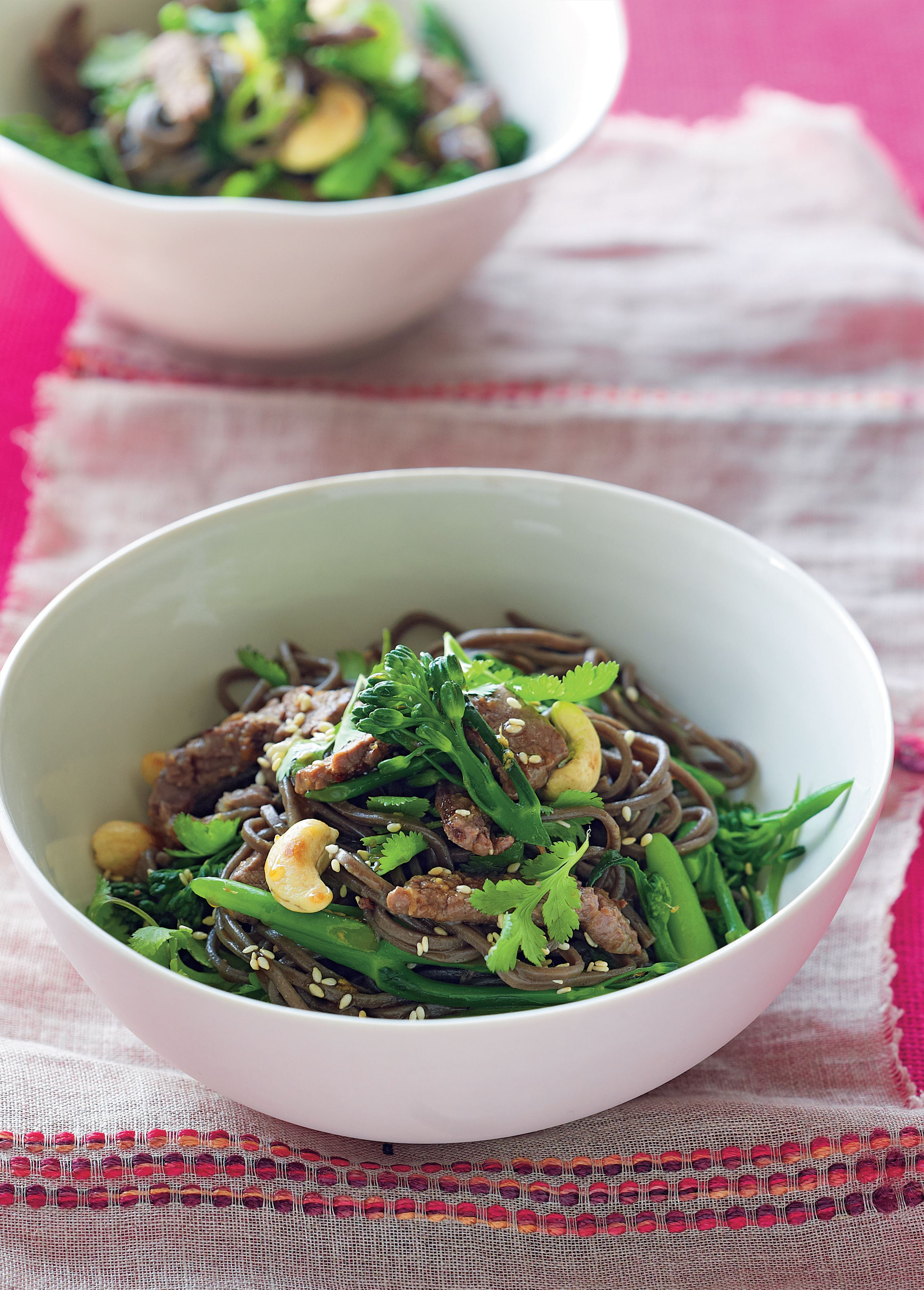 Stir-fried ginger beef with broccolini and cashews