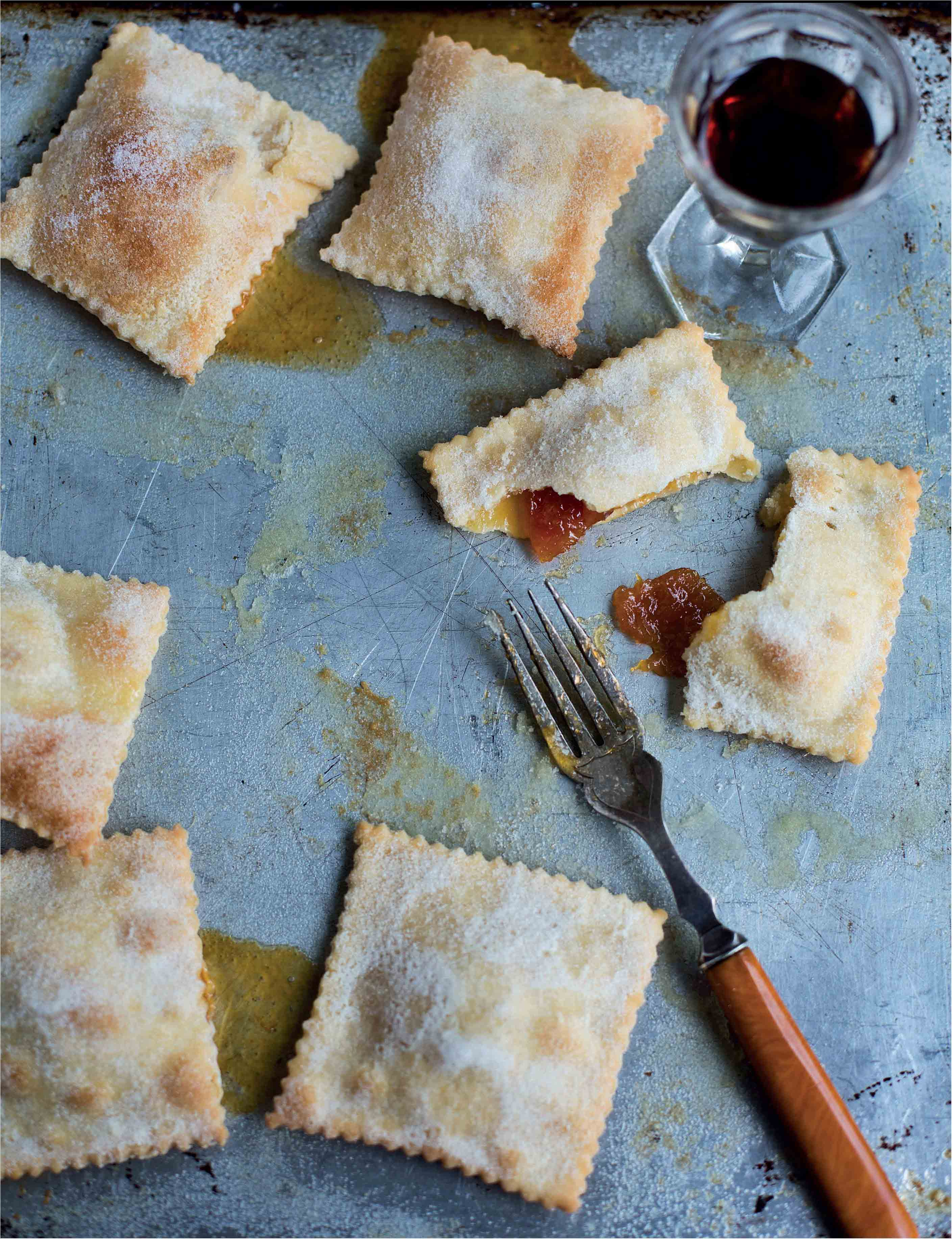 Baked pastry squares stuffed with jam