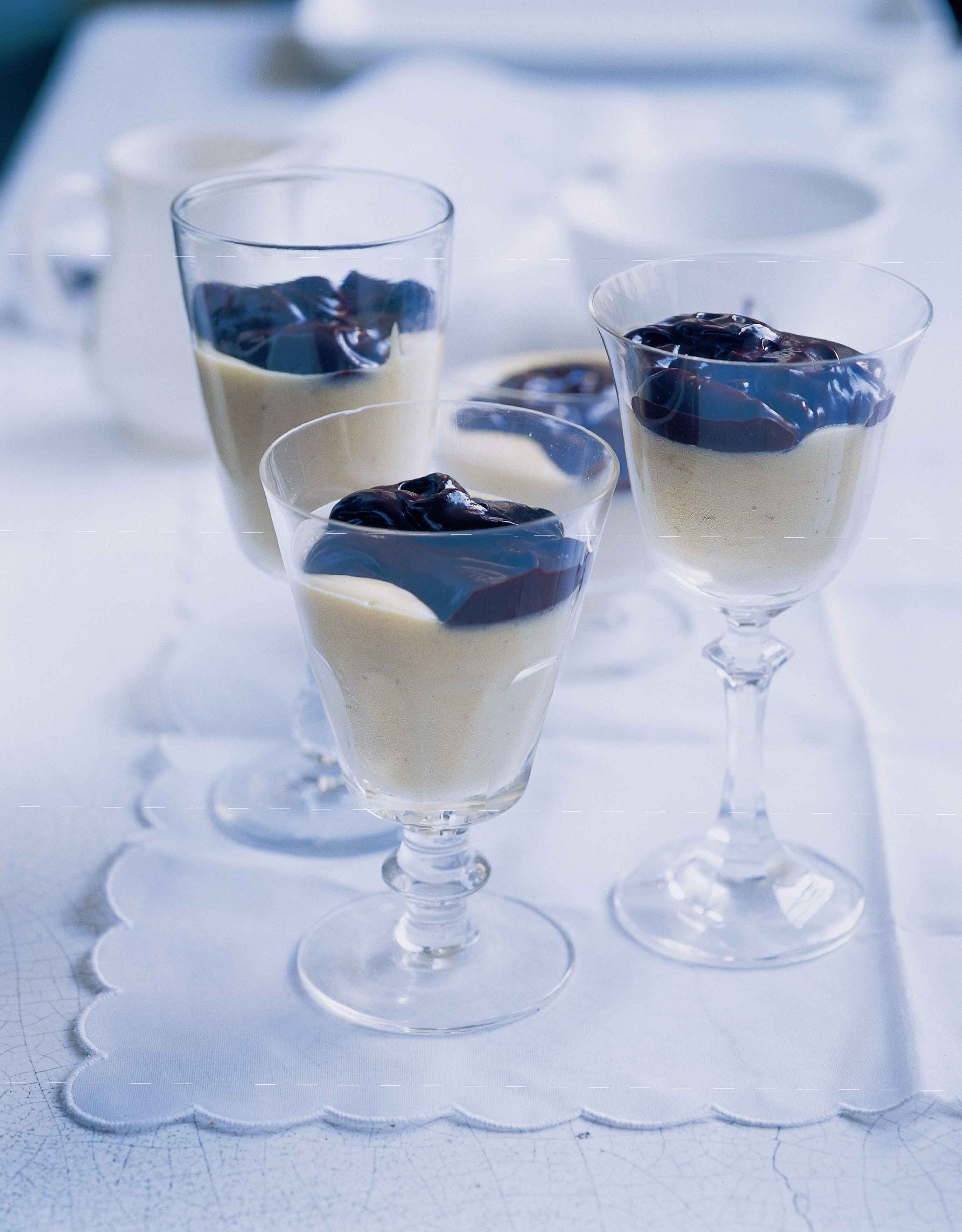 Zabaglione with bitter chocolate sauce