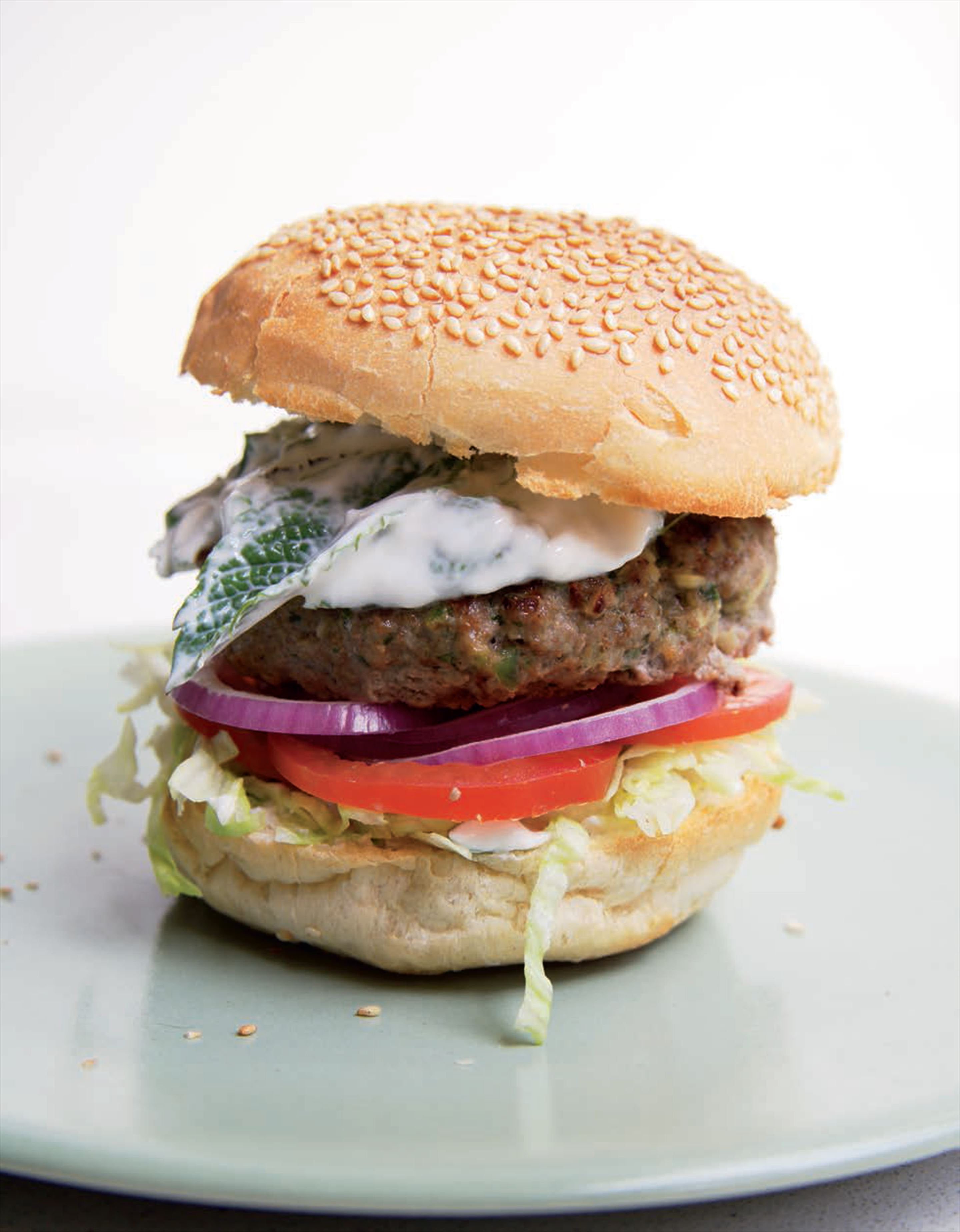 Lamb burgers with herbed yoghurt