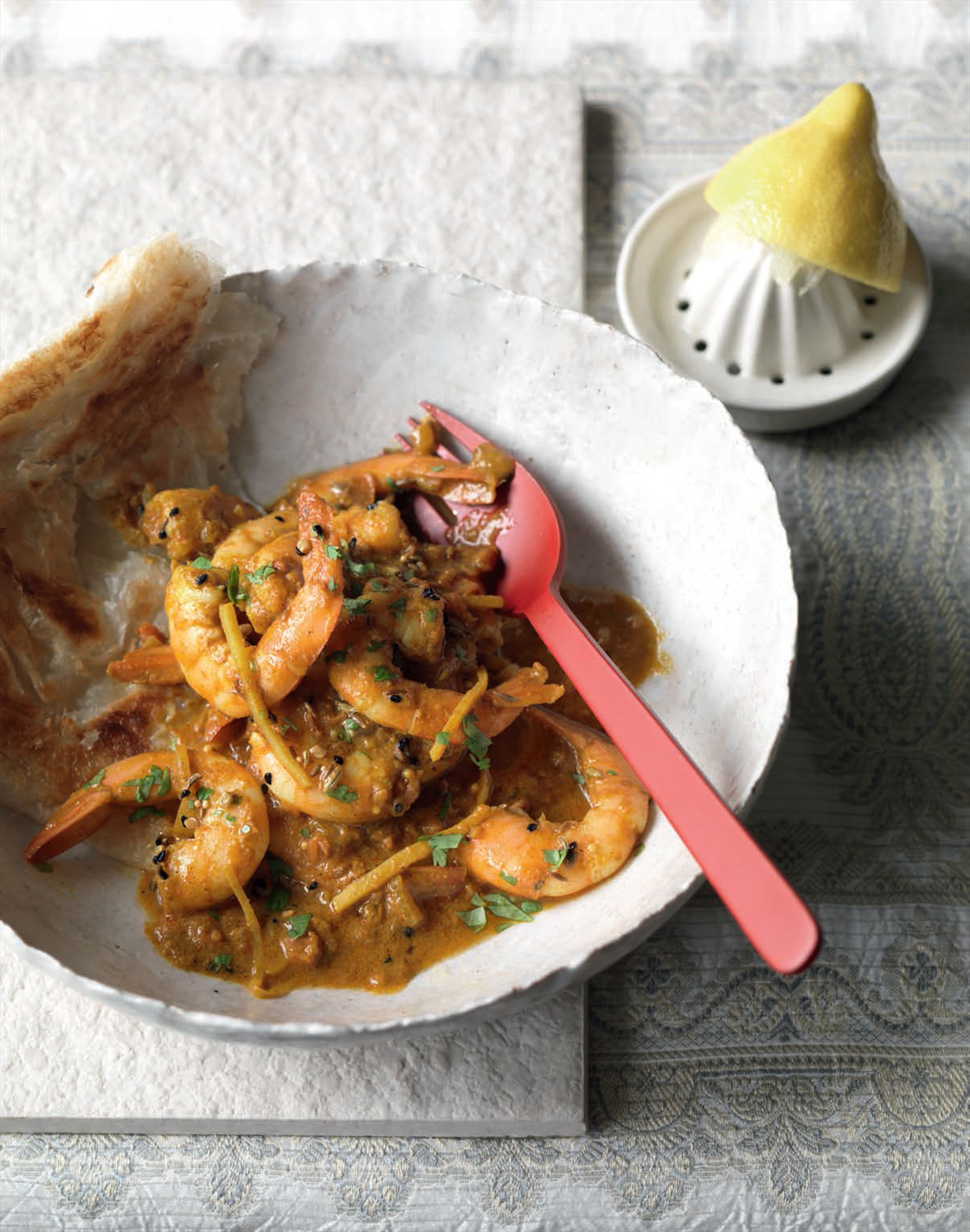 North Indian-spiced prawn curry