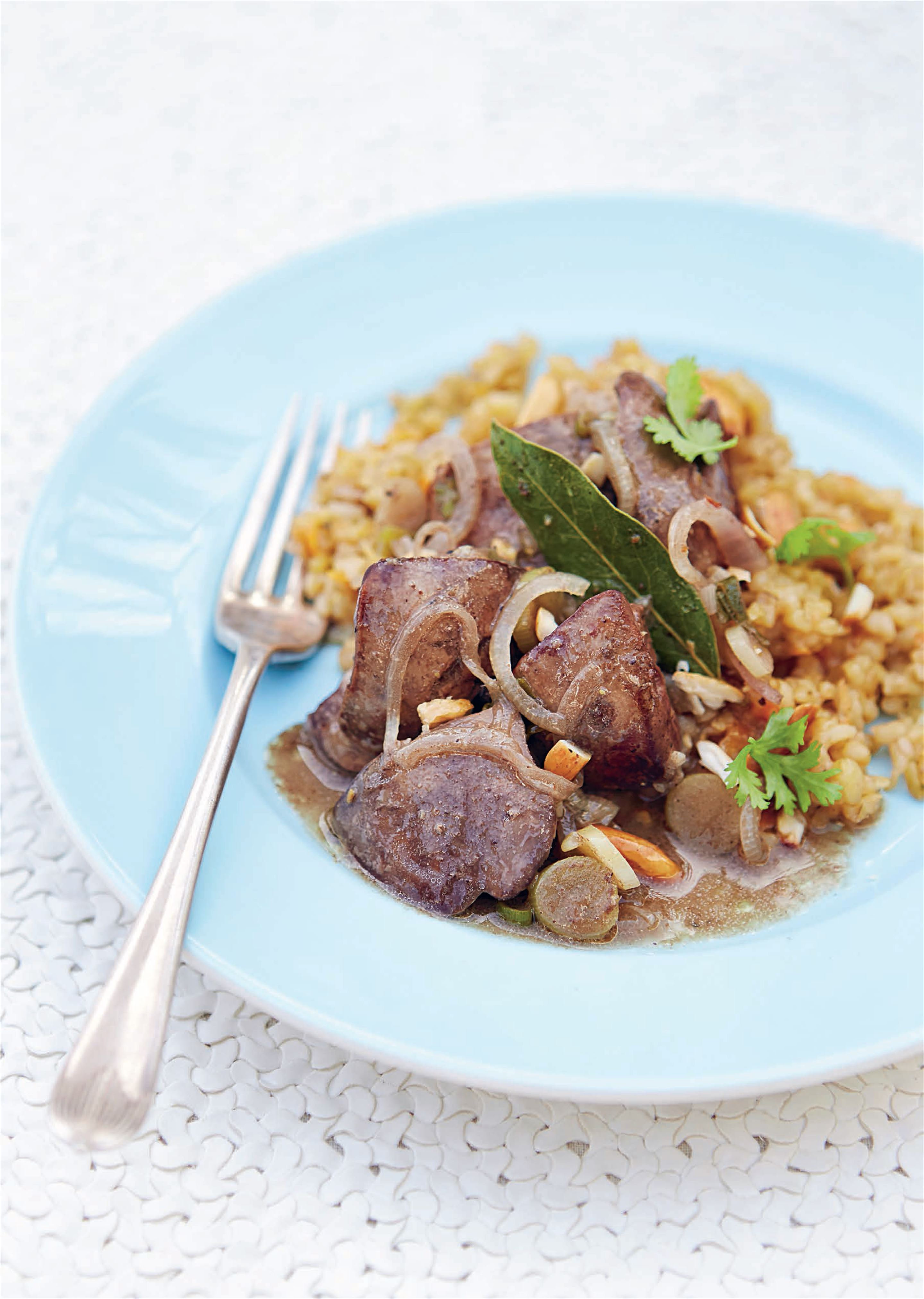 Freekeh with chicken livers