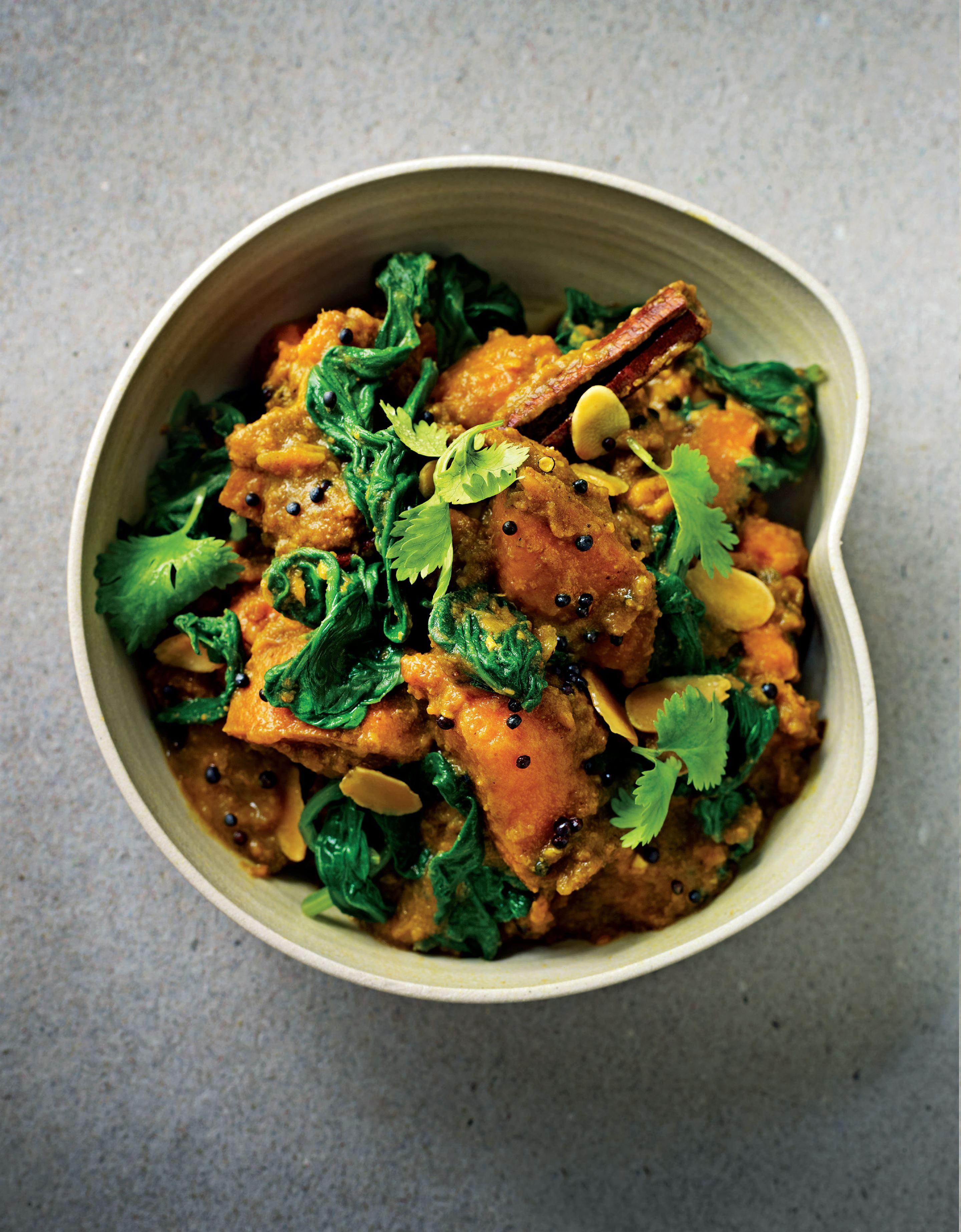 Sweet potato and spinach curry