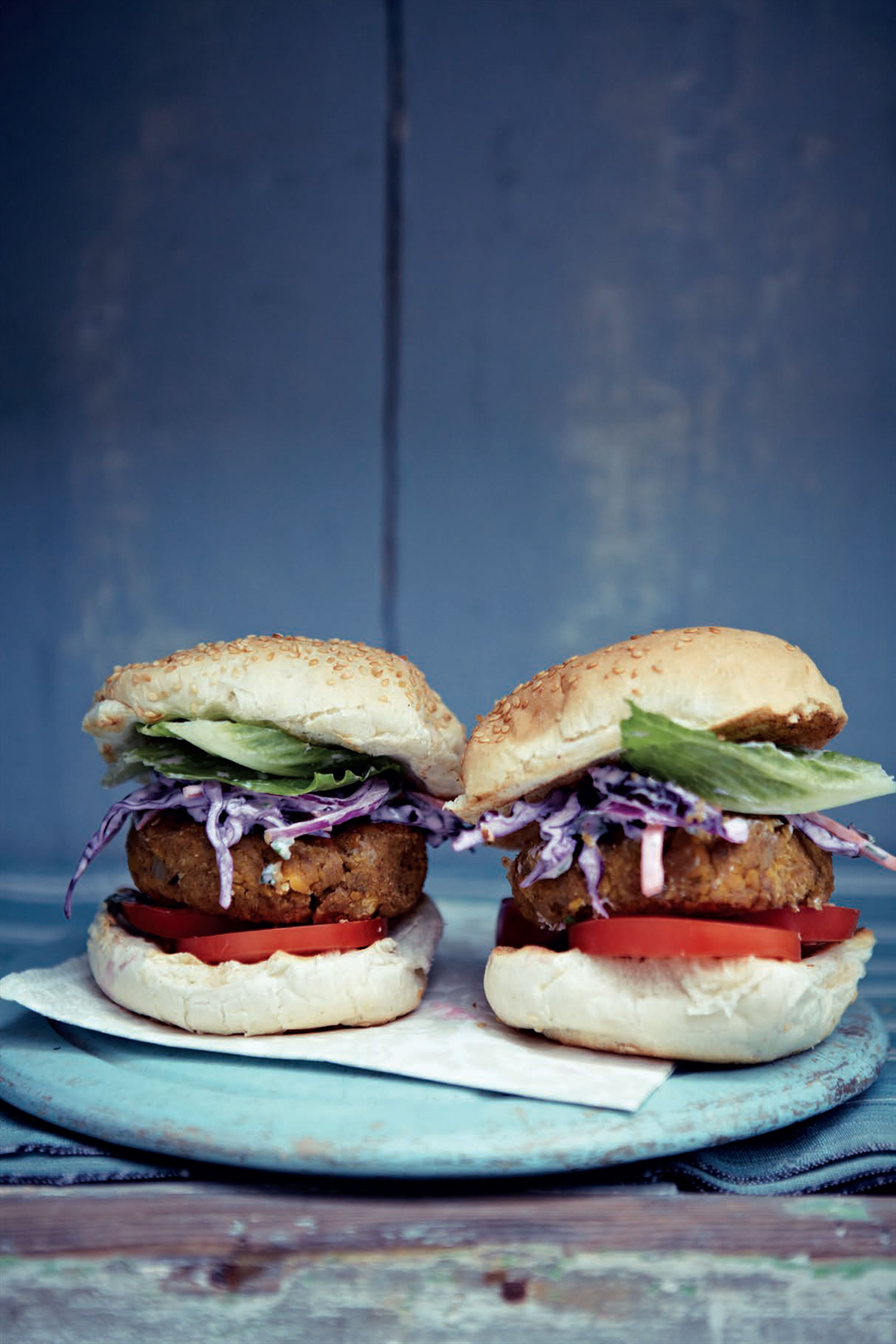 Mile-high chickpea burgers with Indian purple coleslaw