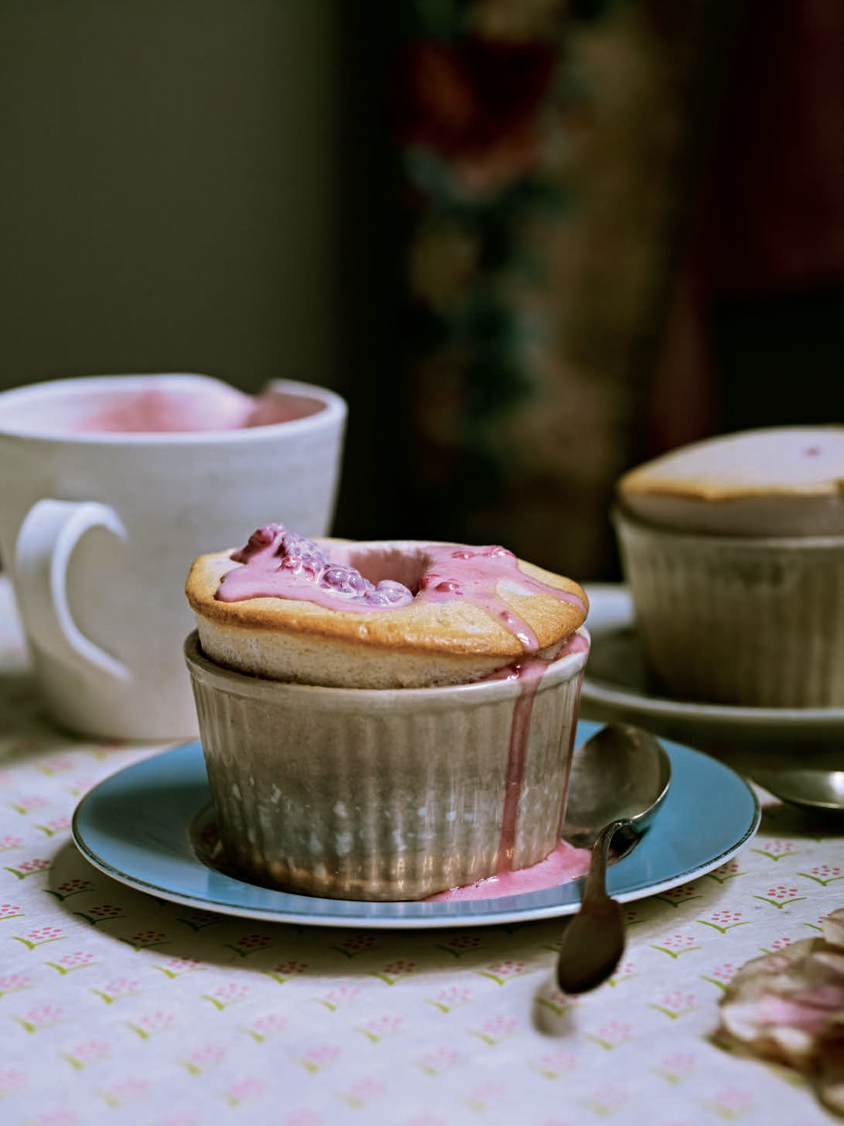 Pomegranate soufflés with rose and raspberry cream