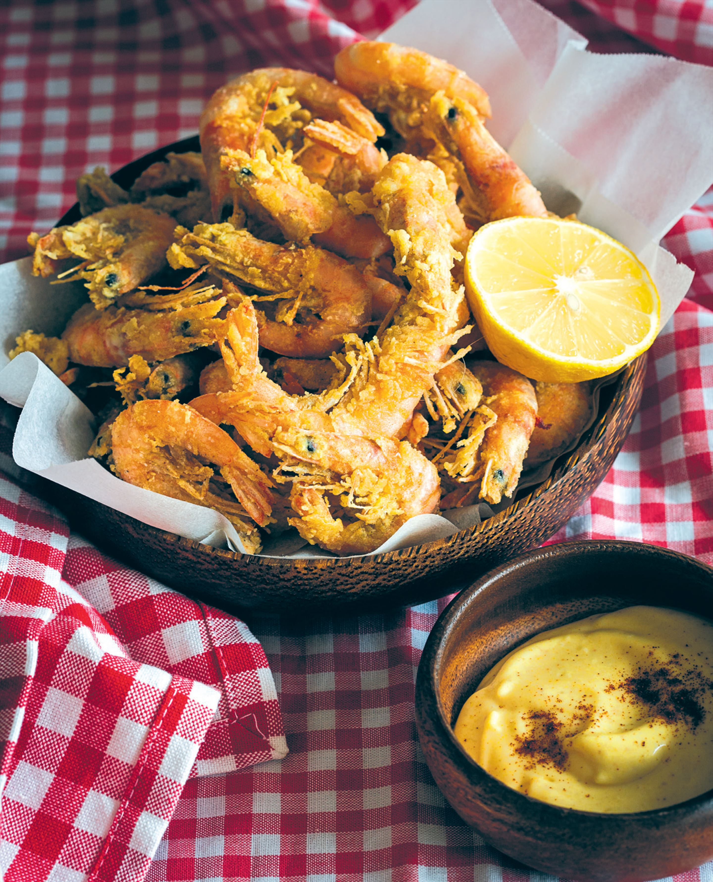 Fried curry school prawns with spicy aioli