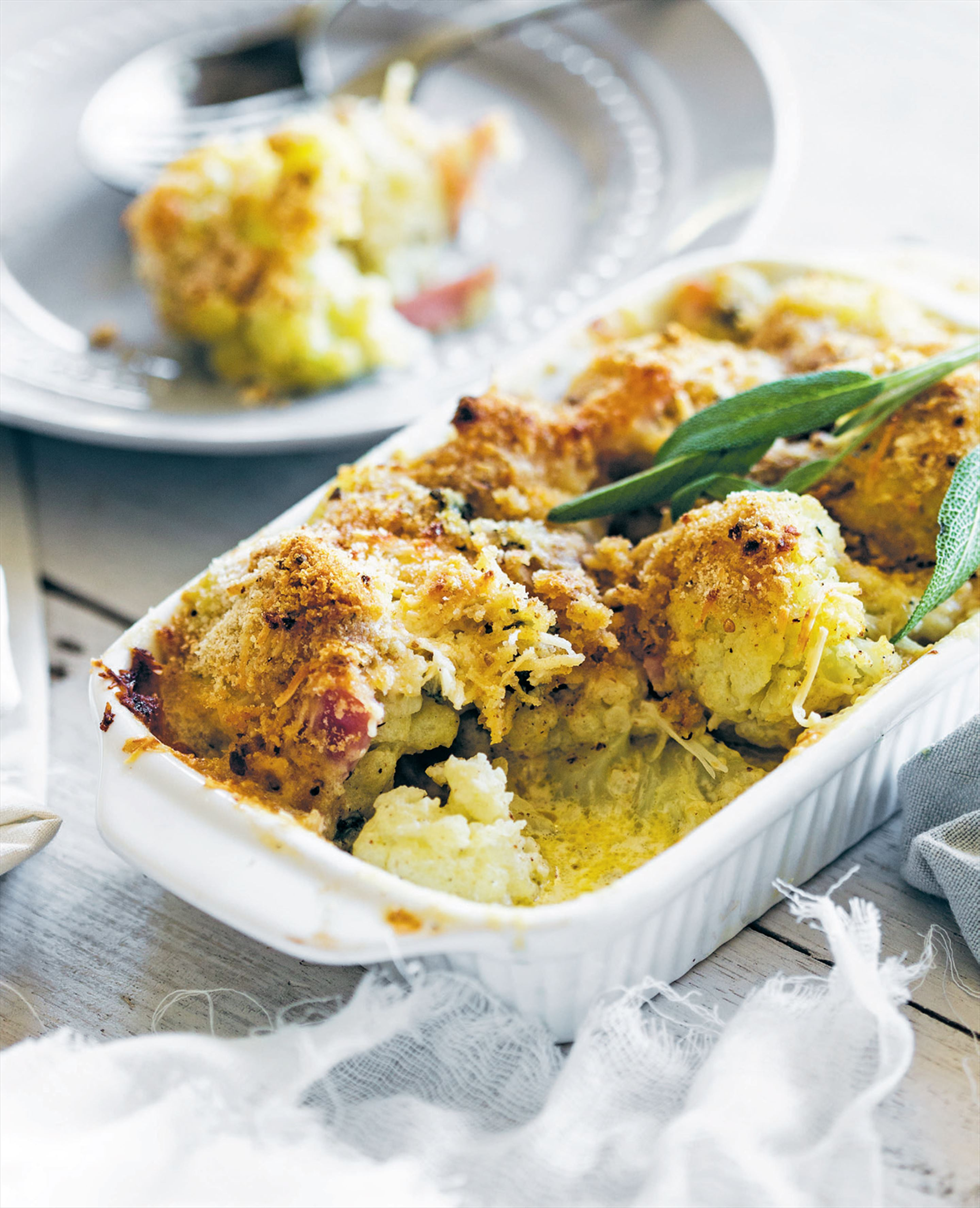 Cauliflower, bacon and sage gratin