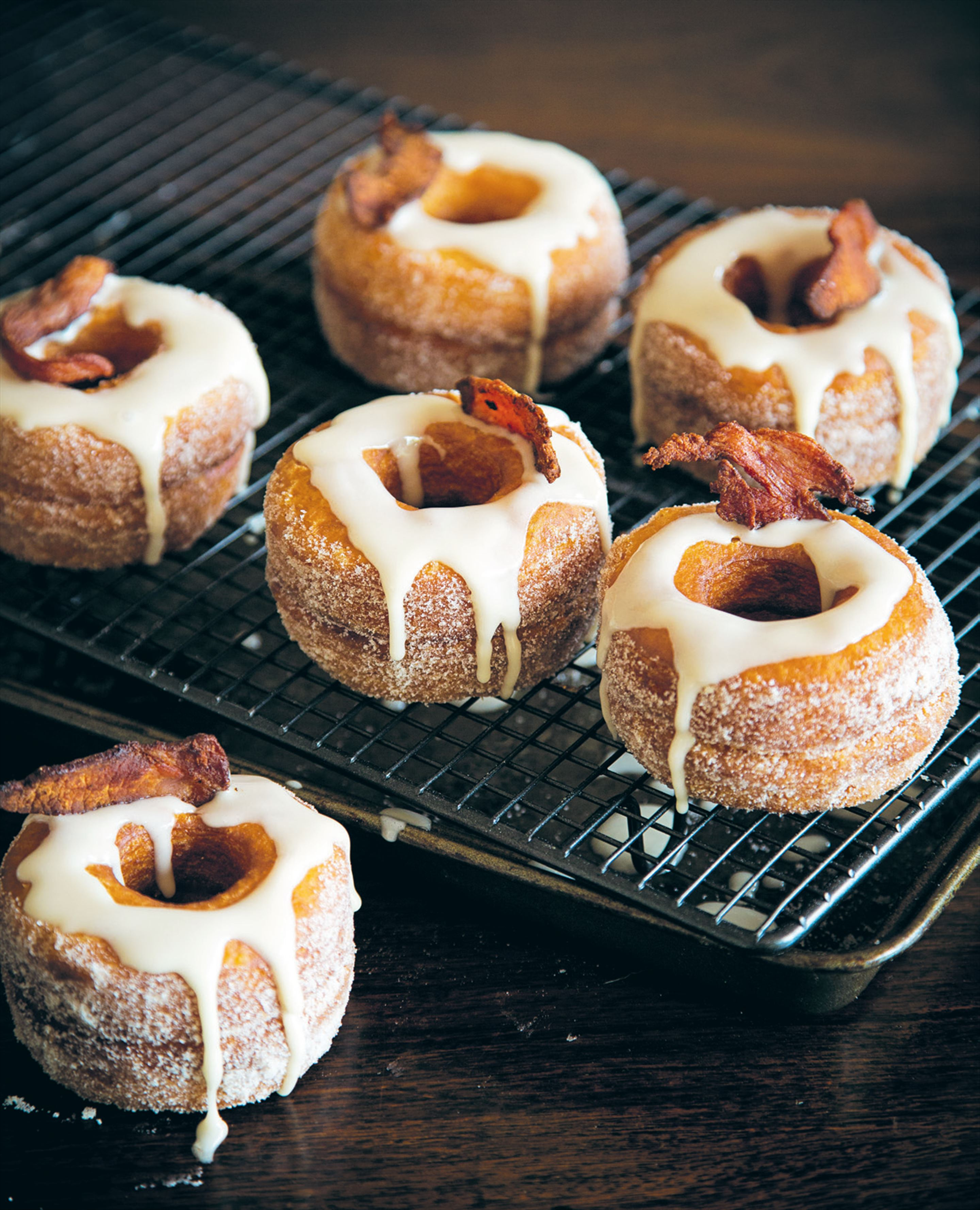 Maple-glazed bacon 'dossants' with salted caramel filling