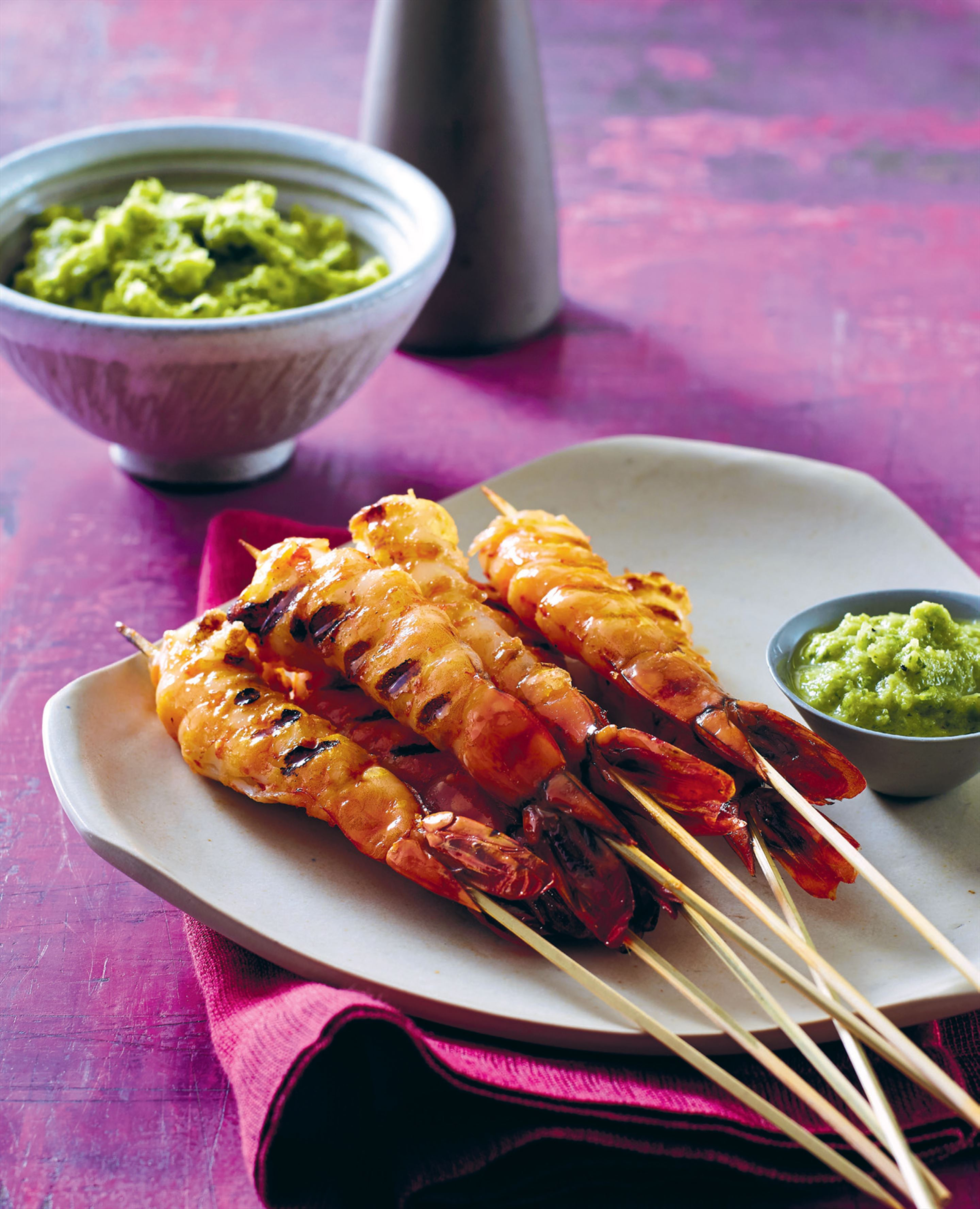 Churrasco prawns with aji sauce