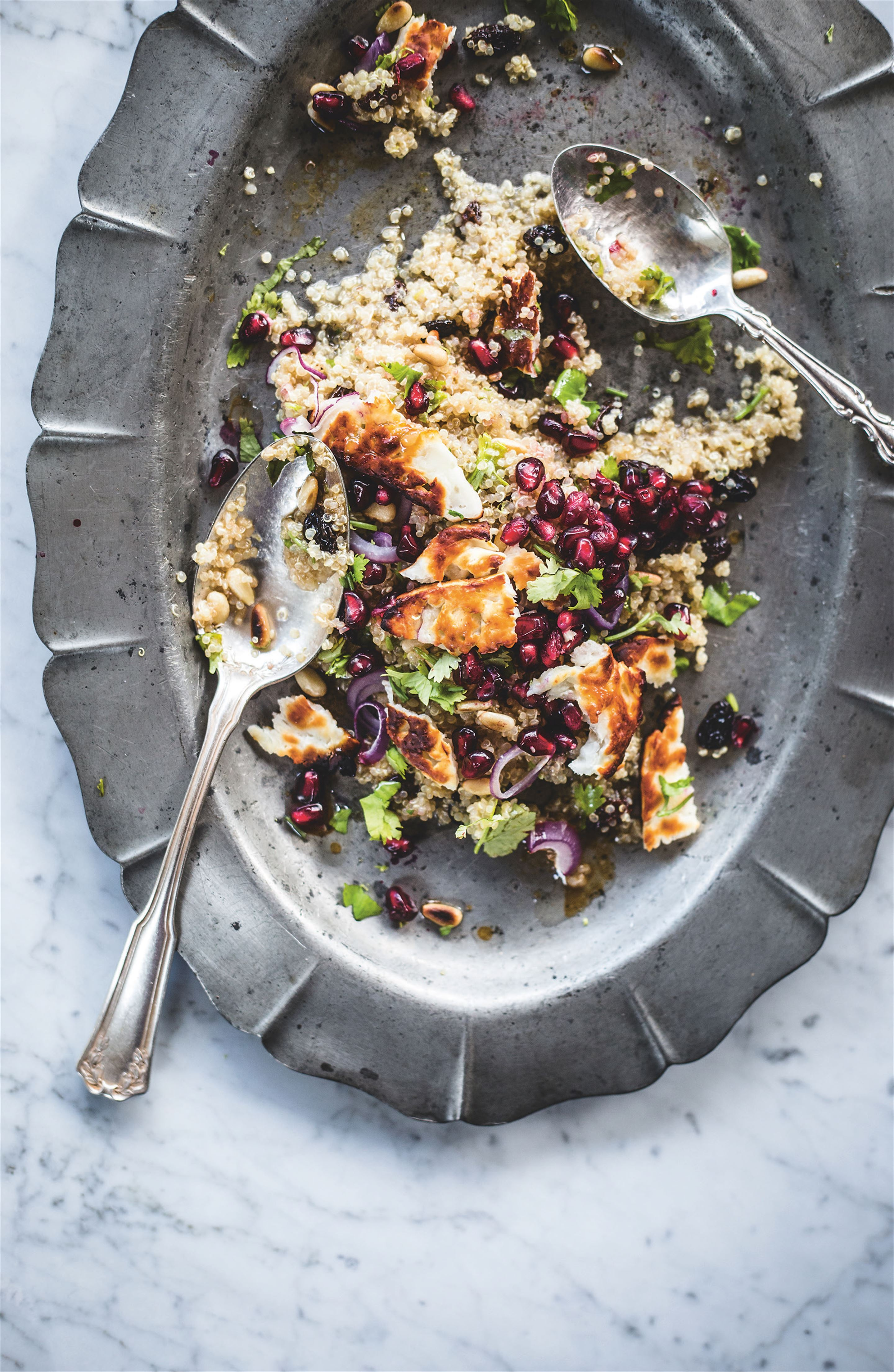 Halloumi, quinoa and pomegranate salad