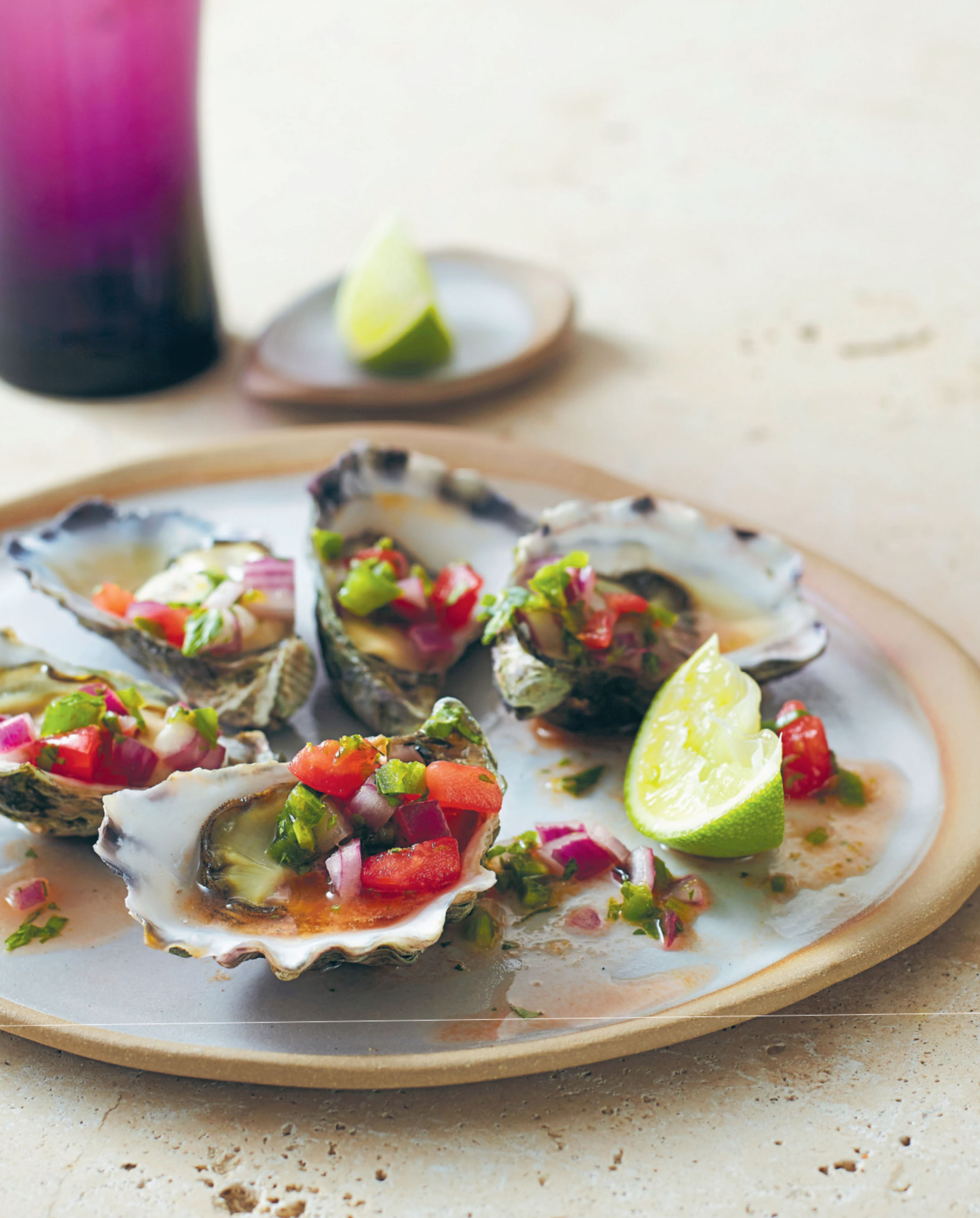 Oysters with pico de gallo