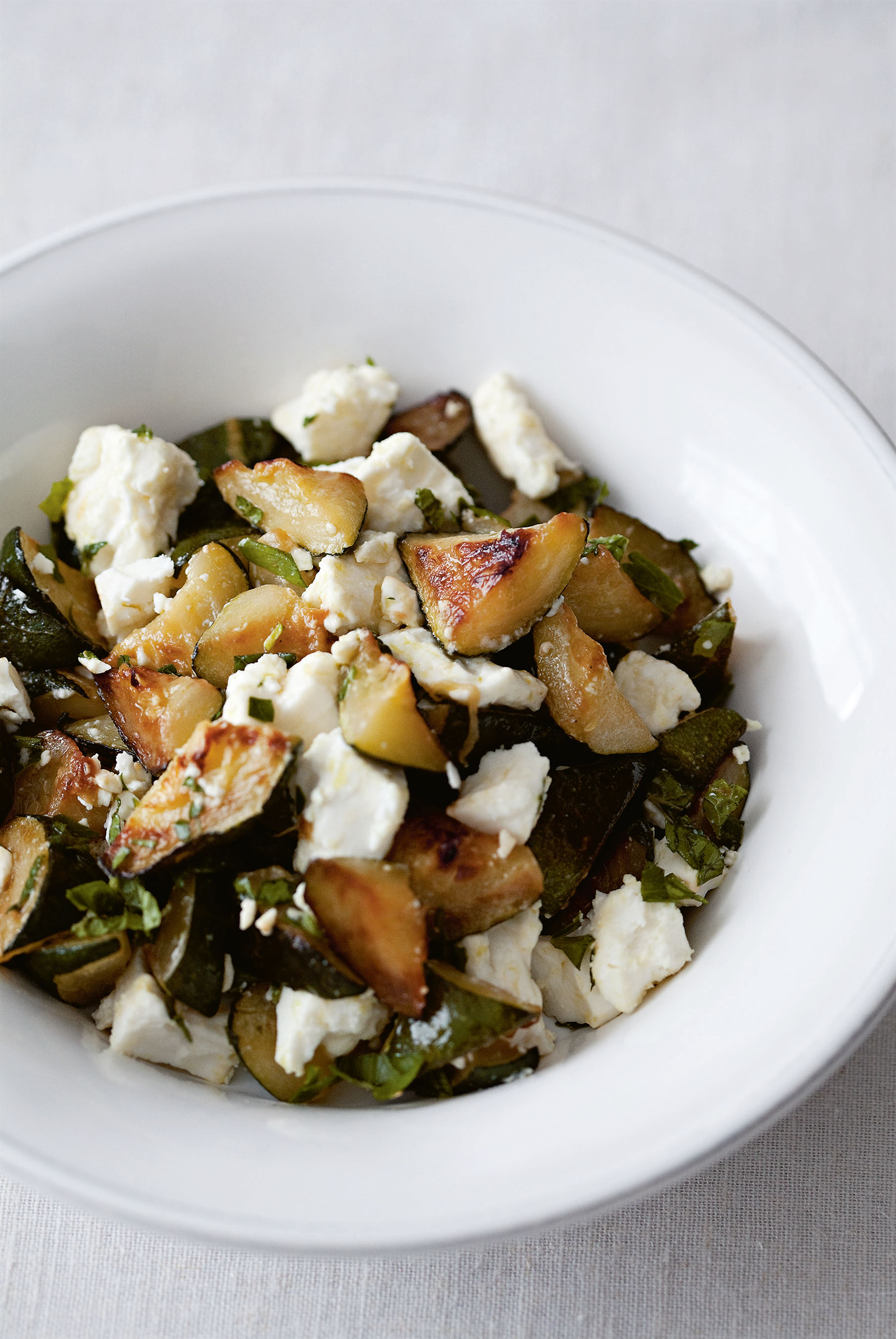 Warm courgette & feta with herbs