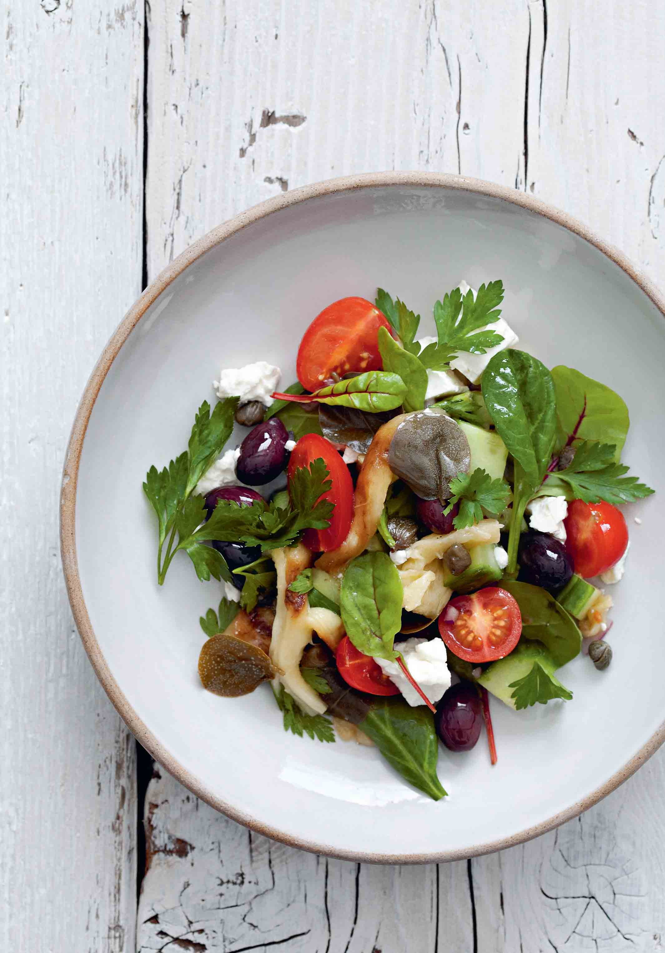Roasted aubergine & caper salad