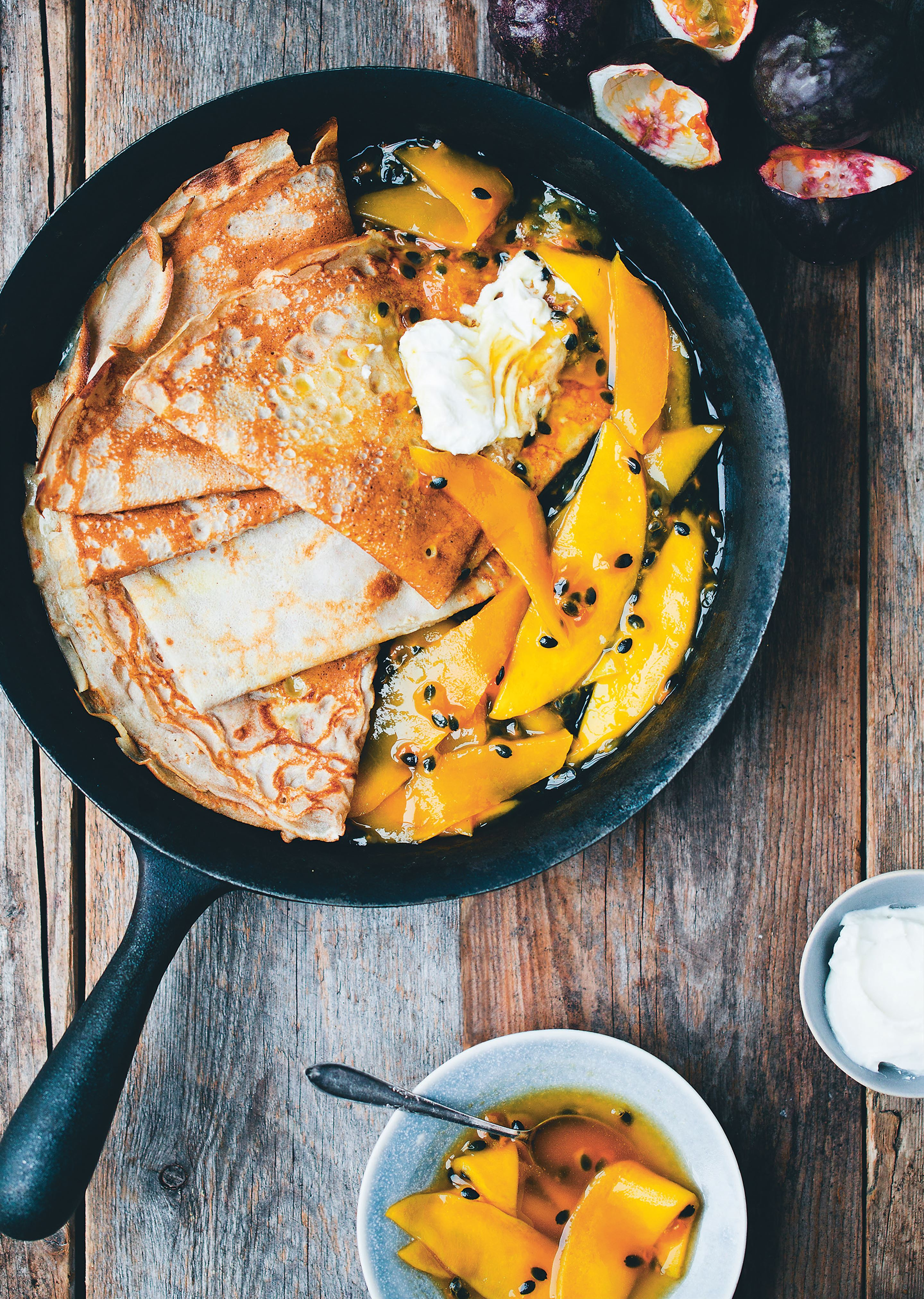 Buckwheat crêpes with passion and mango syrup