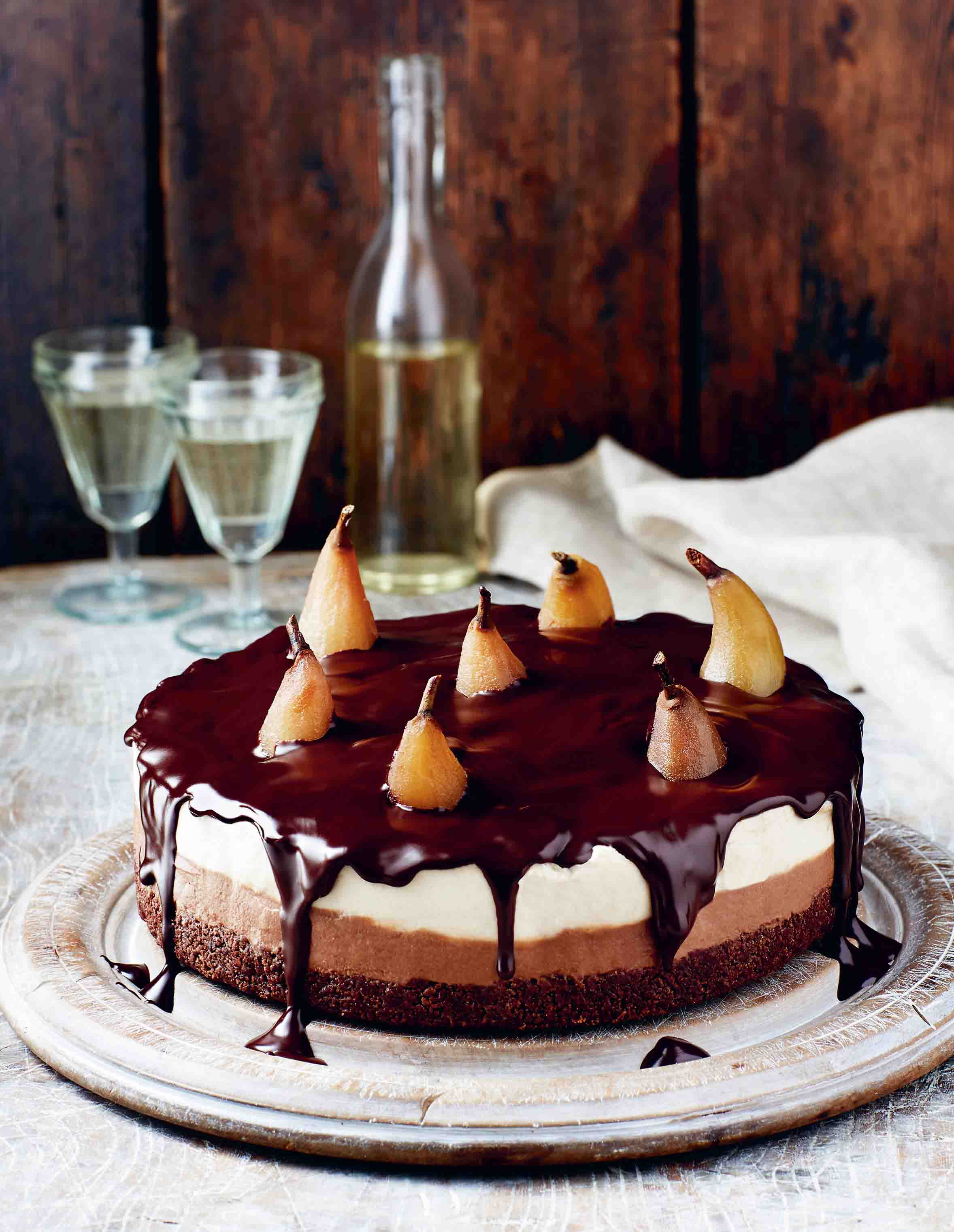 Chestnut and pear cheesecake