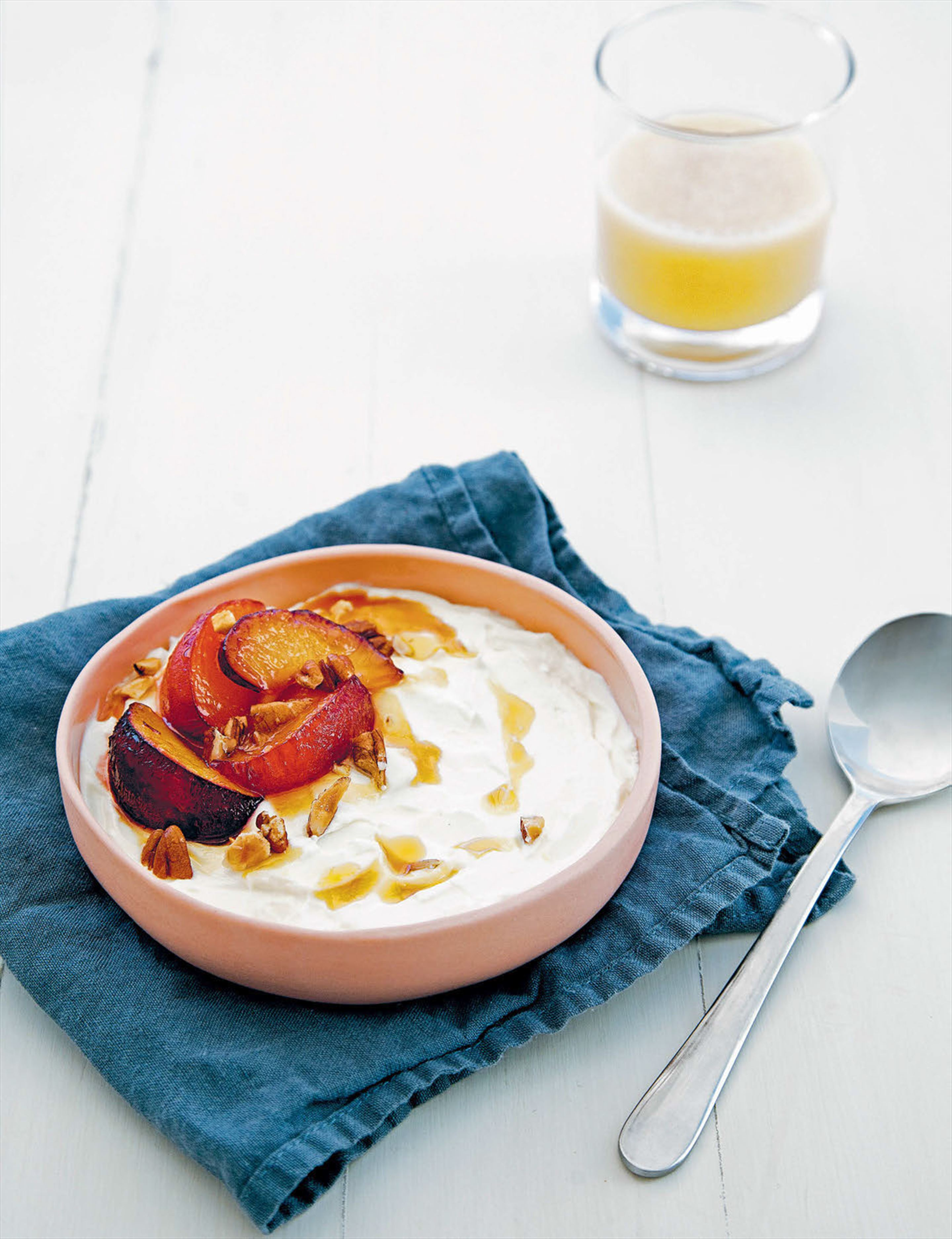Coconut yoghurt with stewed nectarines