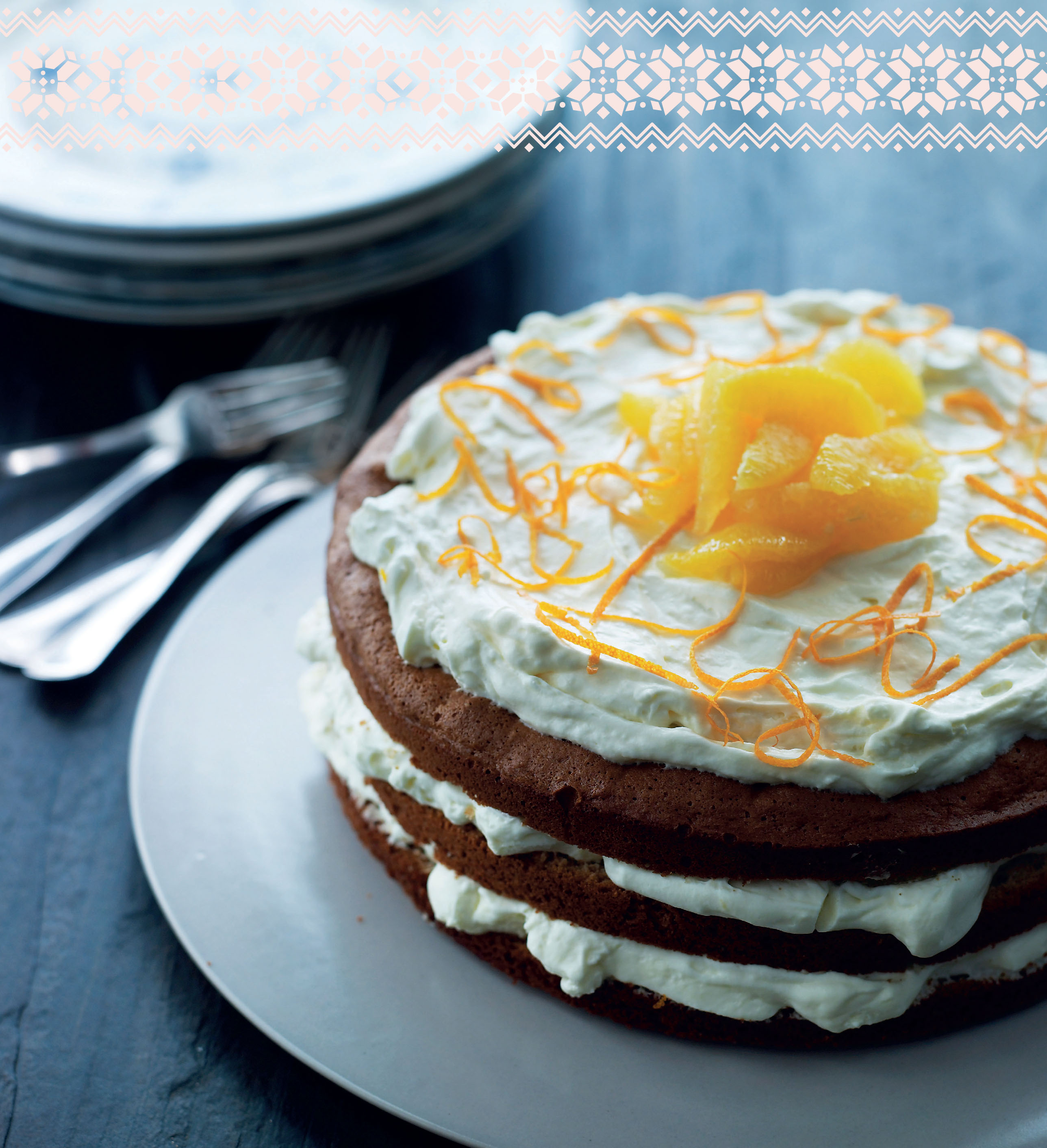 Honey layer cake with orange mousse