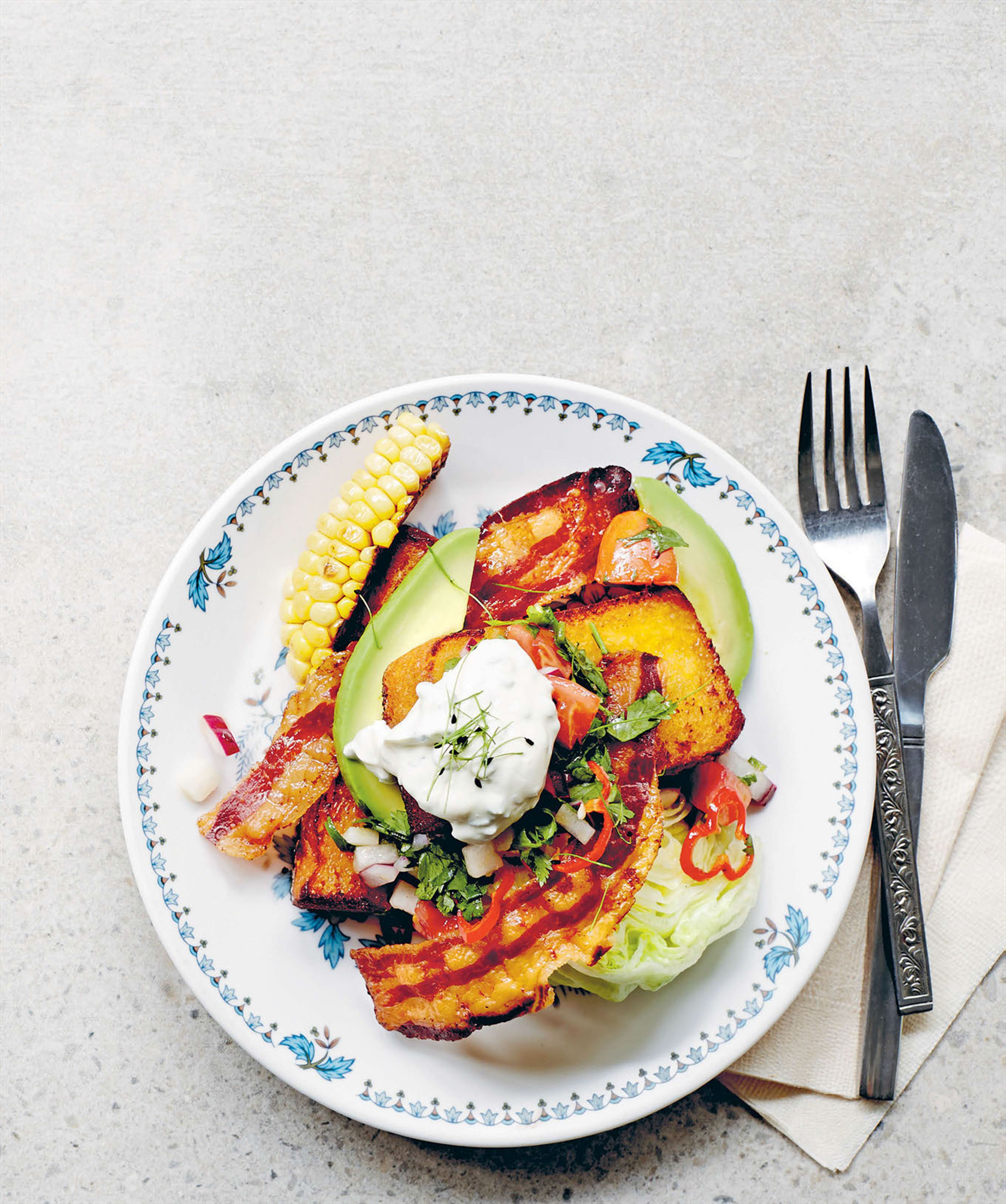 Sweetcorn French toast with pancetta & avocado
