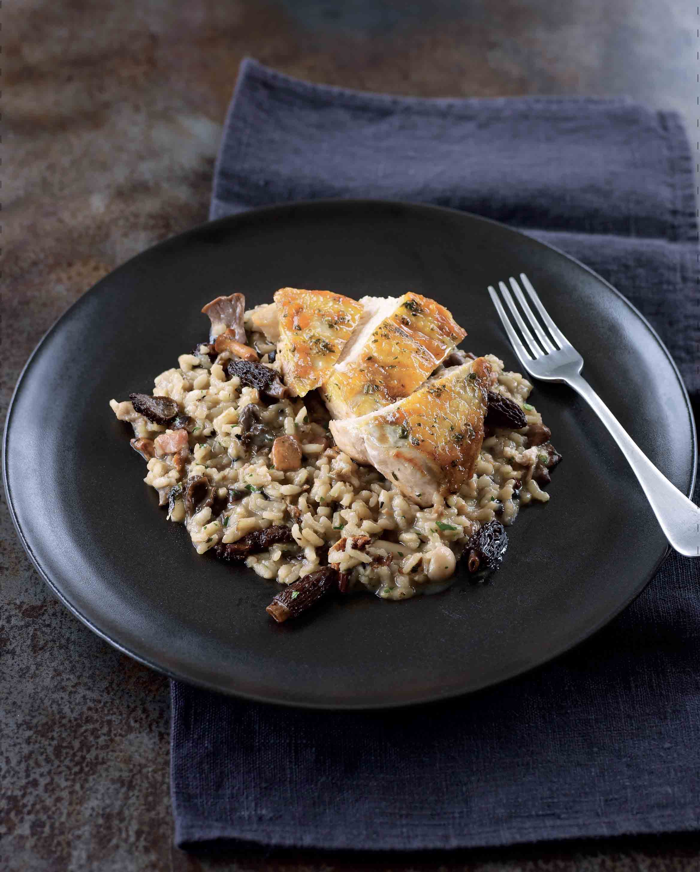 Pan-fried breast of guinea fowl with morel and bacon risotto