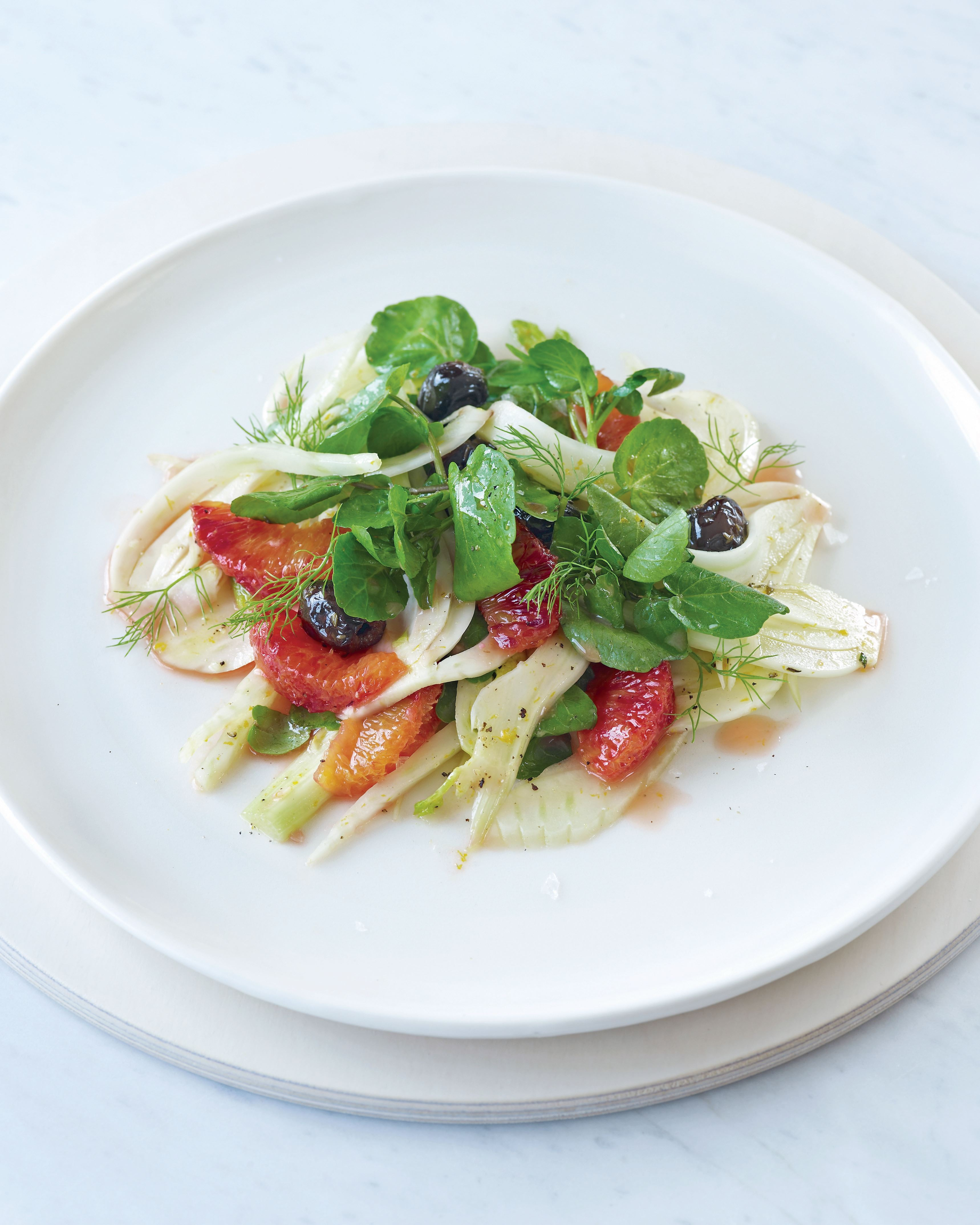 Fennel salad with blood orange, watercress and black olives