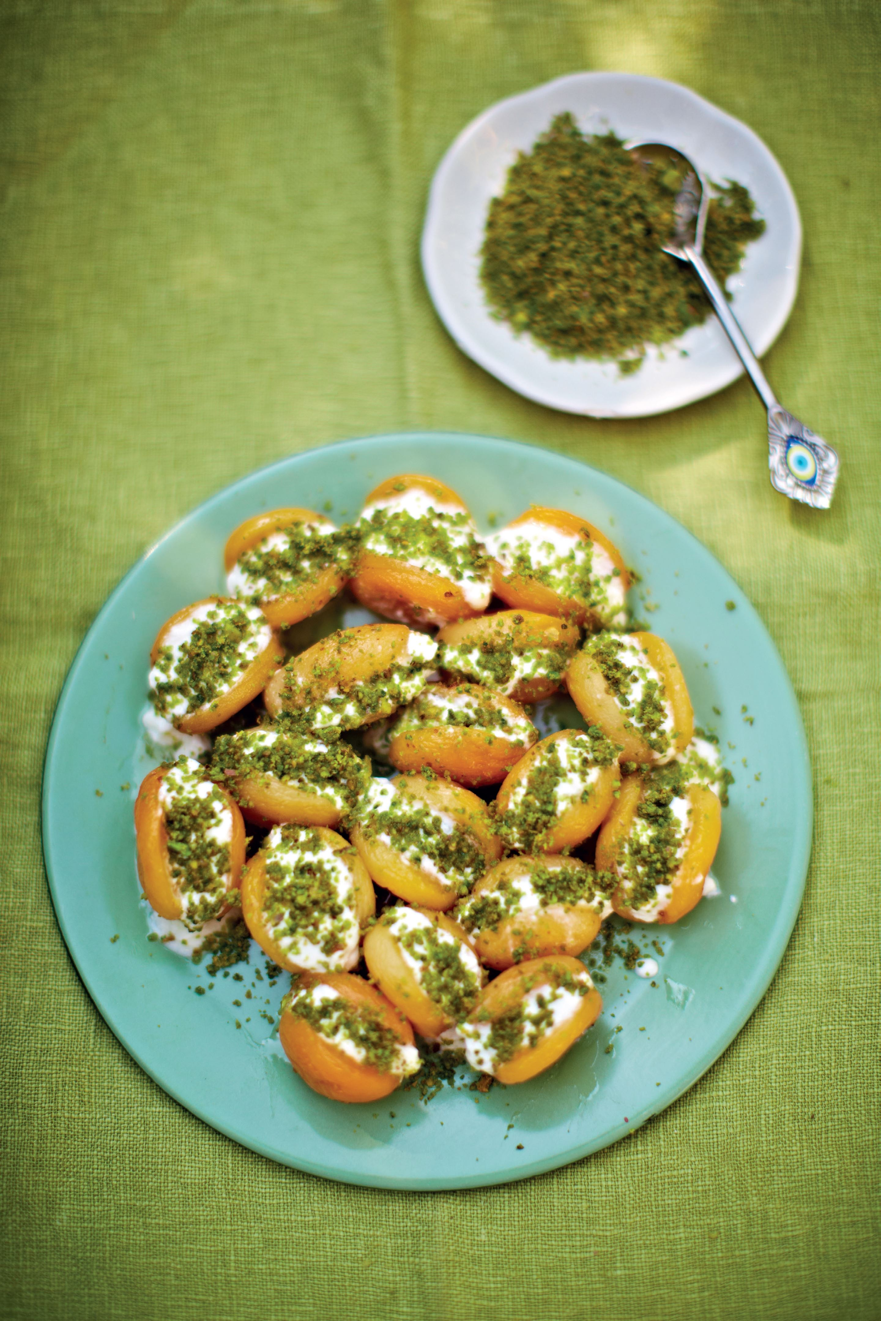 Stuffed apricots with honeyed yoghurt and pistachios