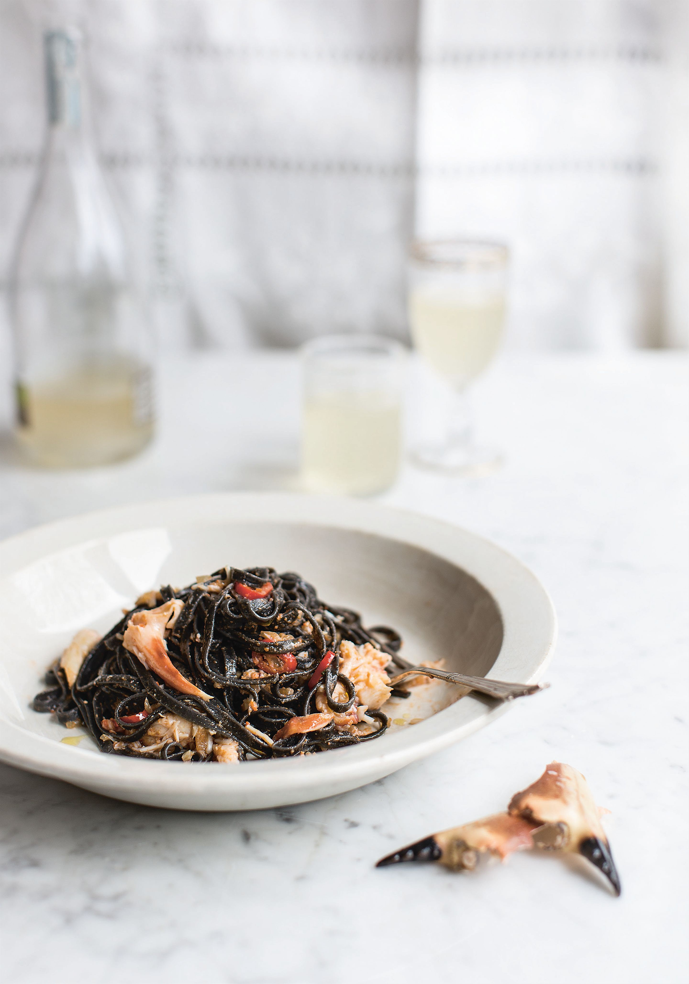 Black linguine with crab