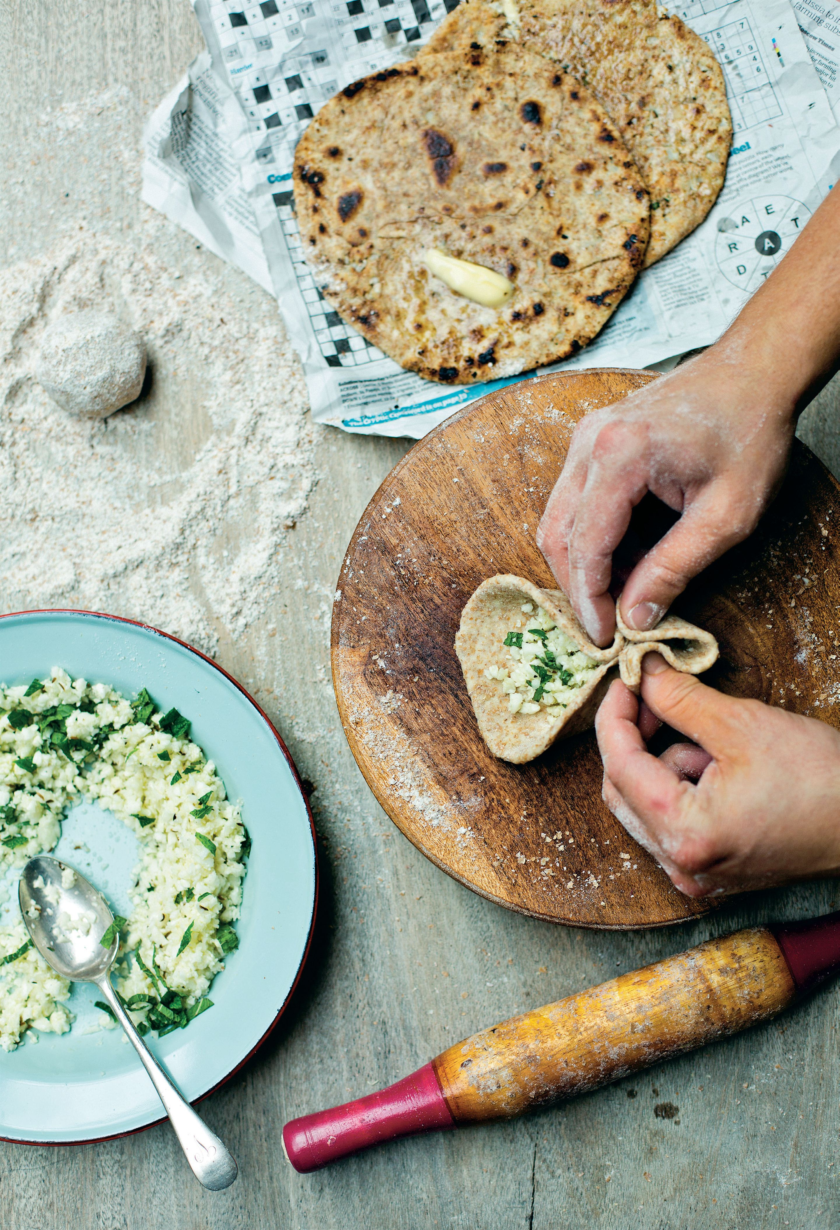 Cauliflower-stuffed parathas