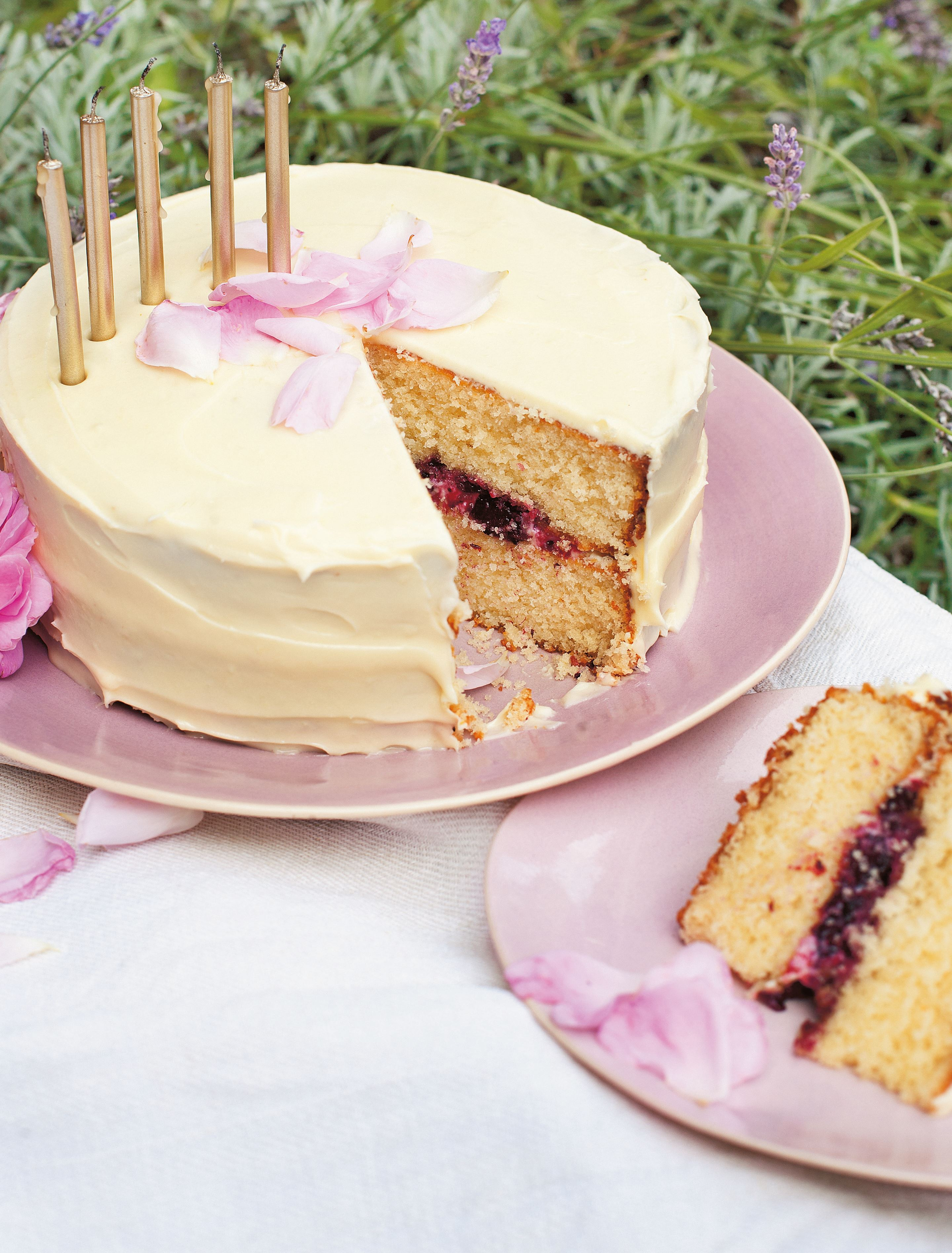 Blackberry, lavender, rose and white chocolate cake