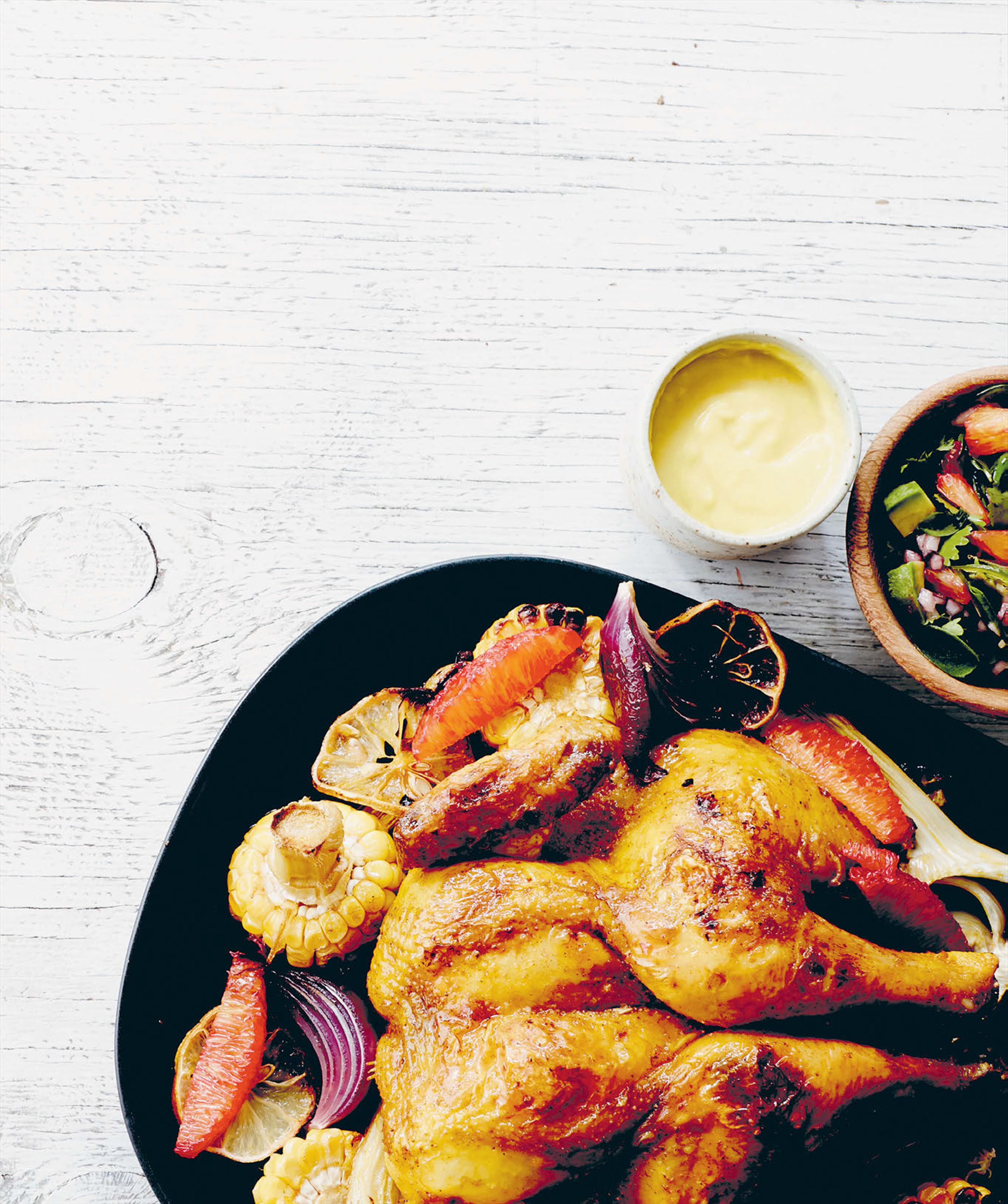 Roast chicken Mexico city-style with blood orange & avocado salsa