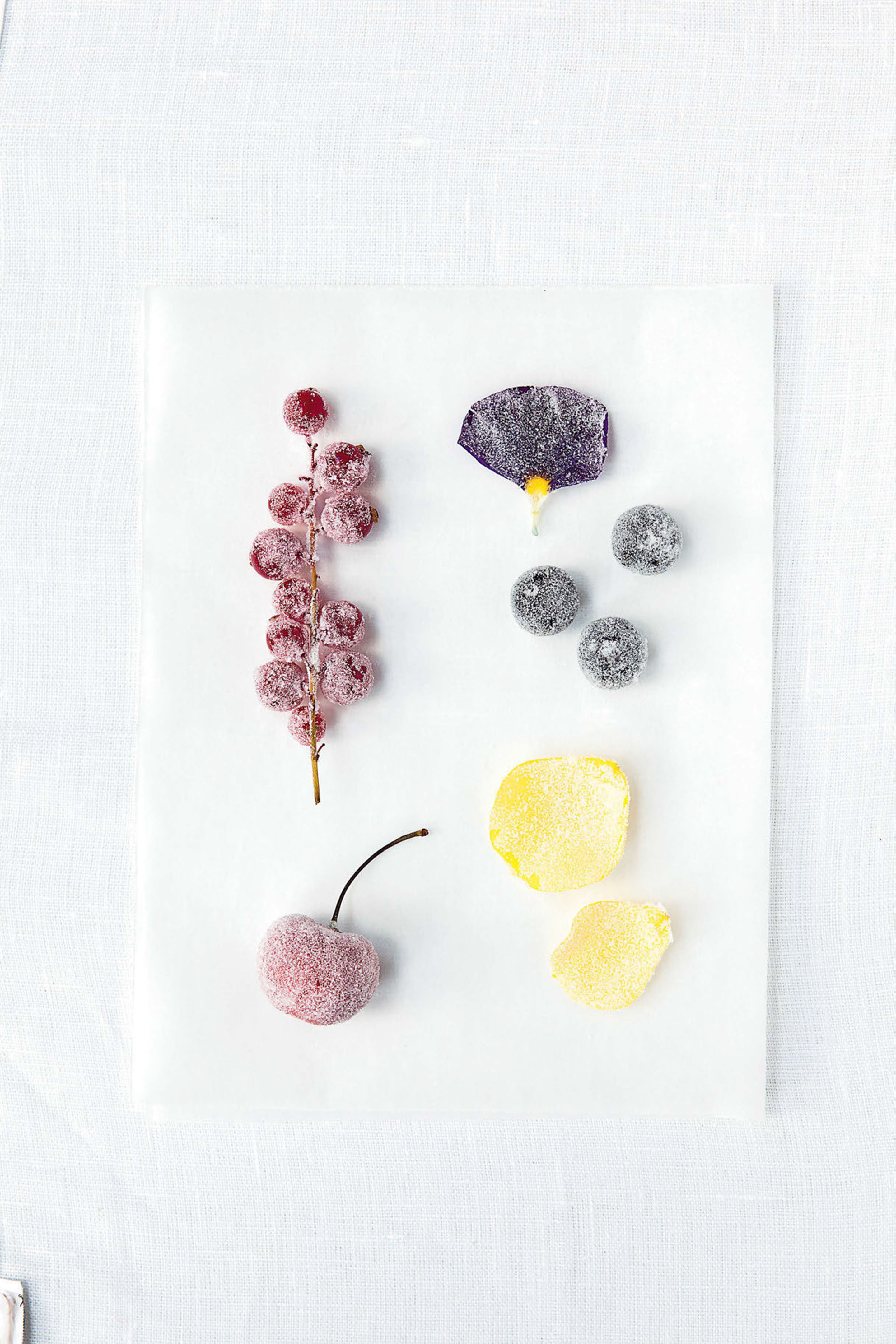 Crystallised flower petals and fruits