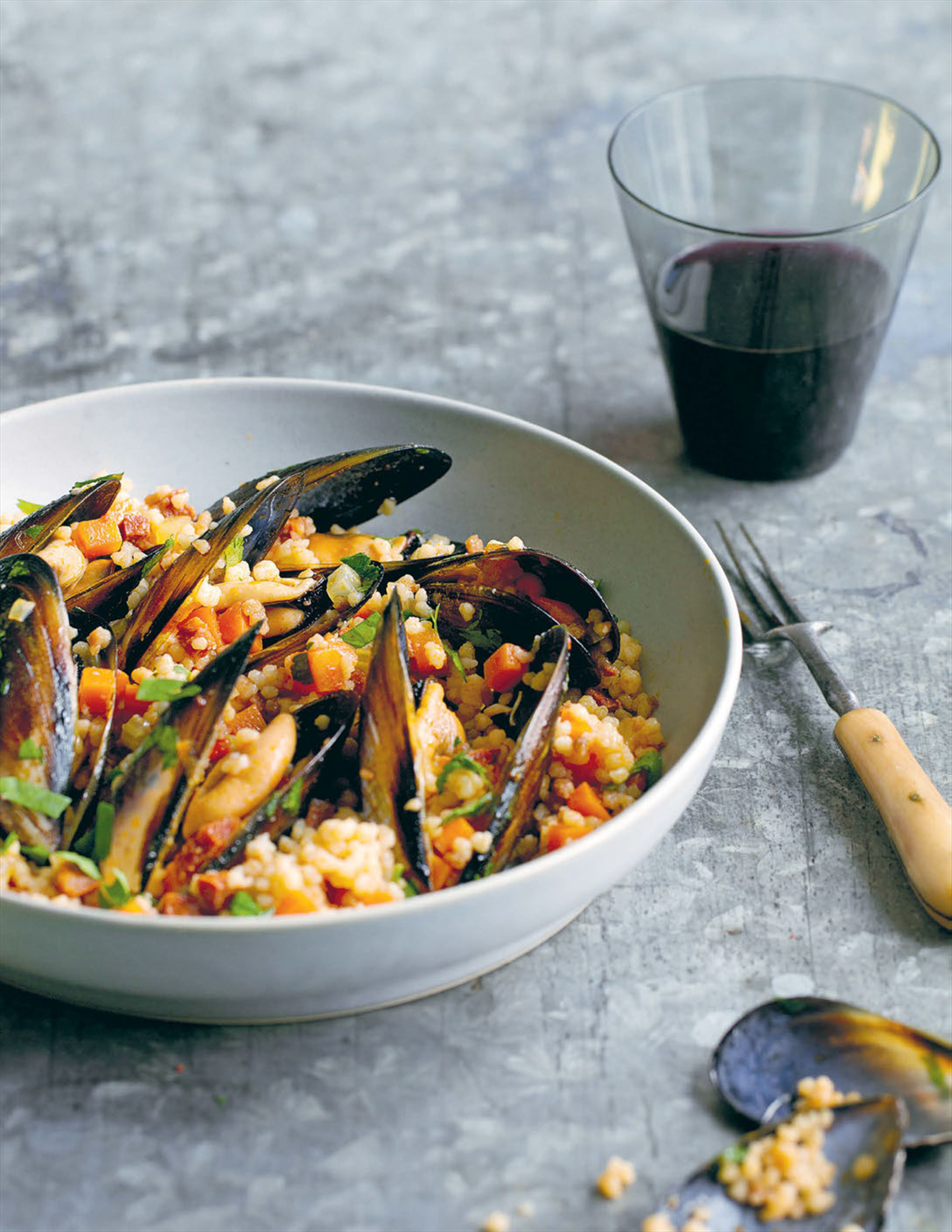 Warm salad of fregola, chorizo and mussels
