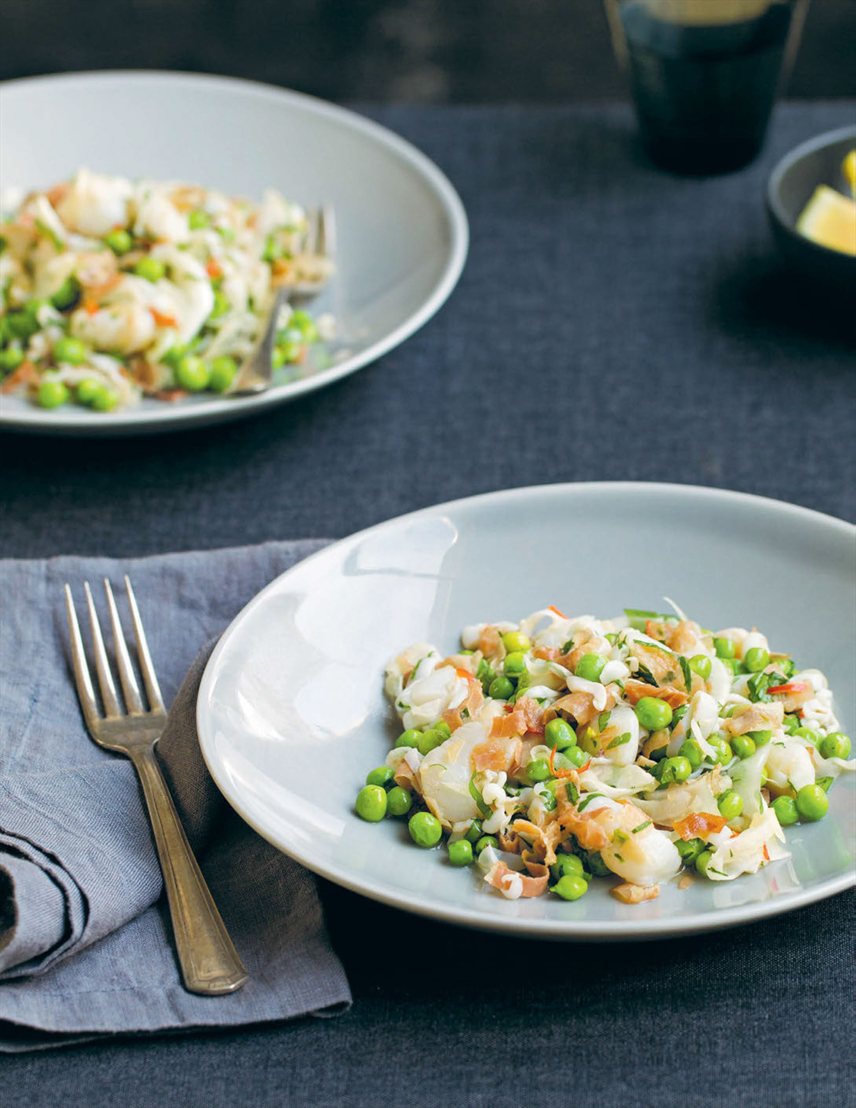 Cuttlefish, scallops and fennel with pea and prosciutto dressing