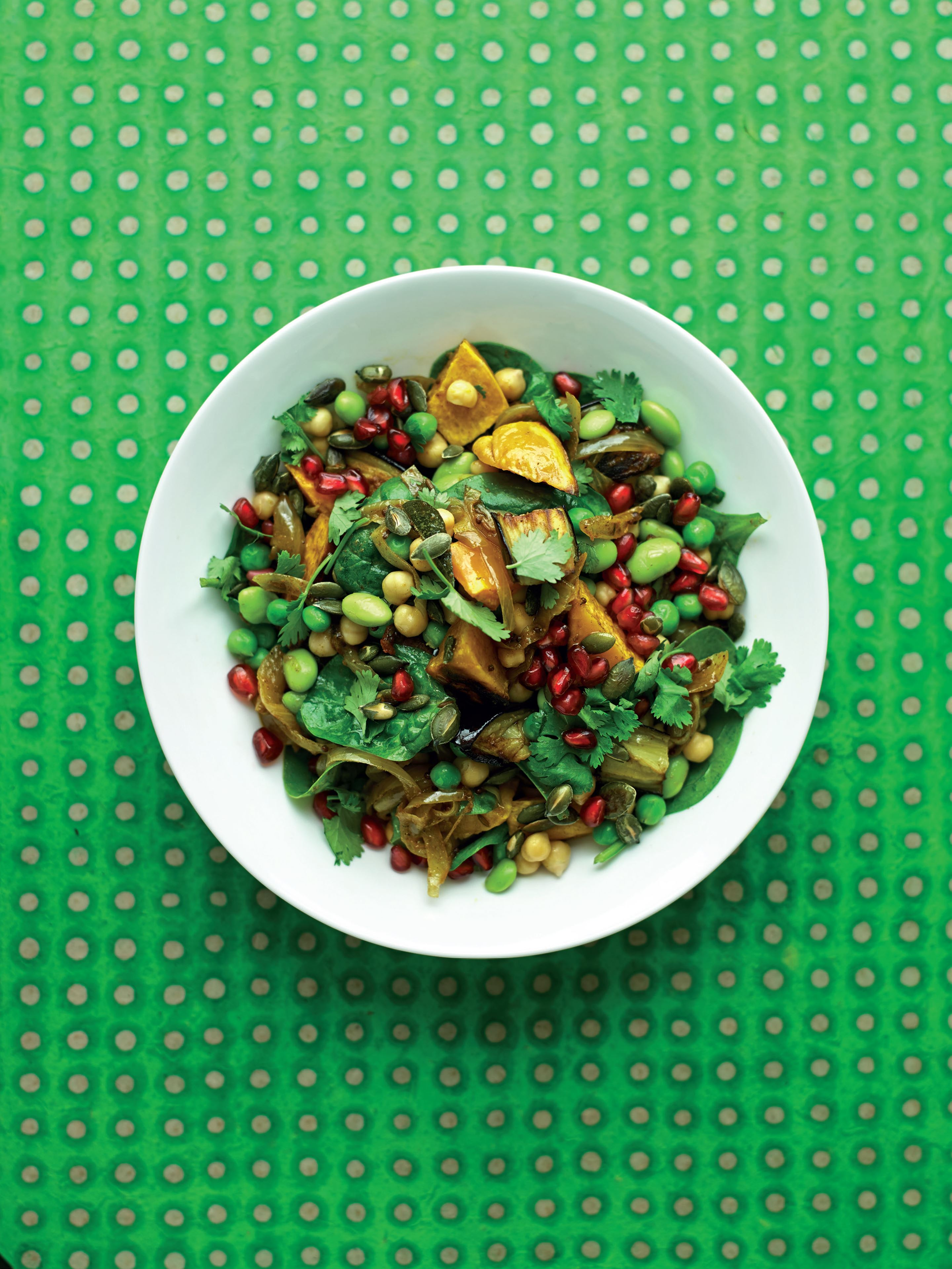 Warm Indian 'chana chaat' with pomegranate