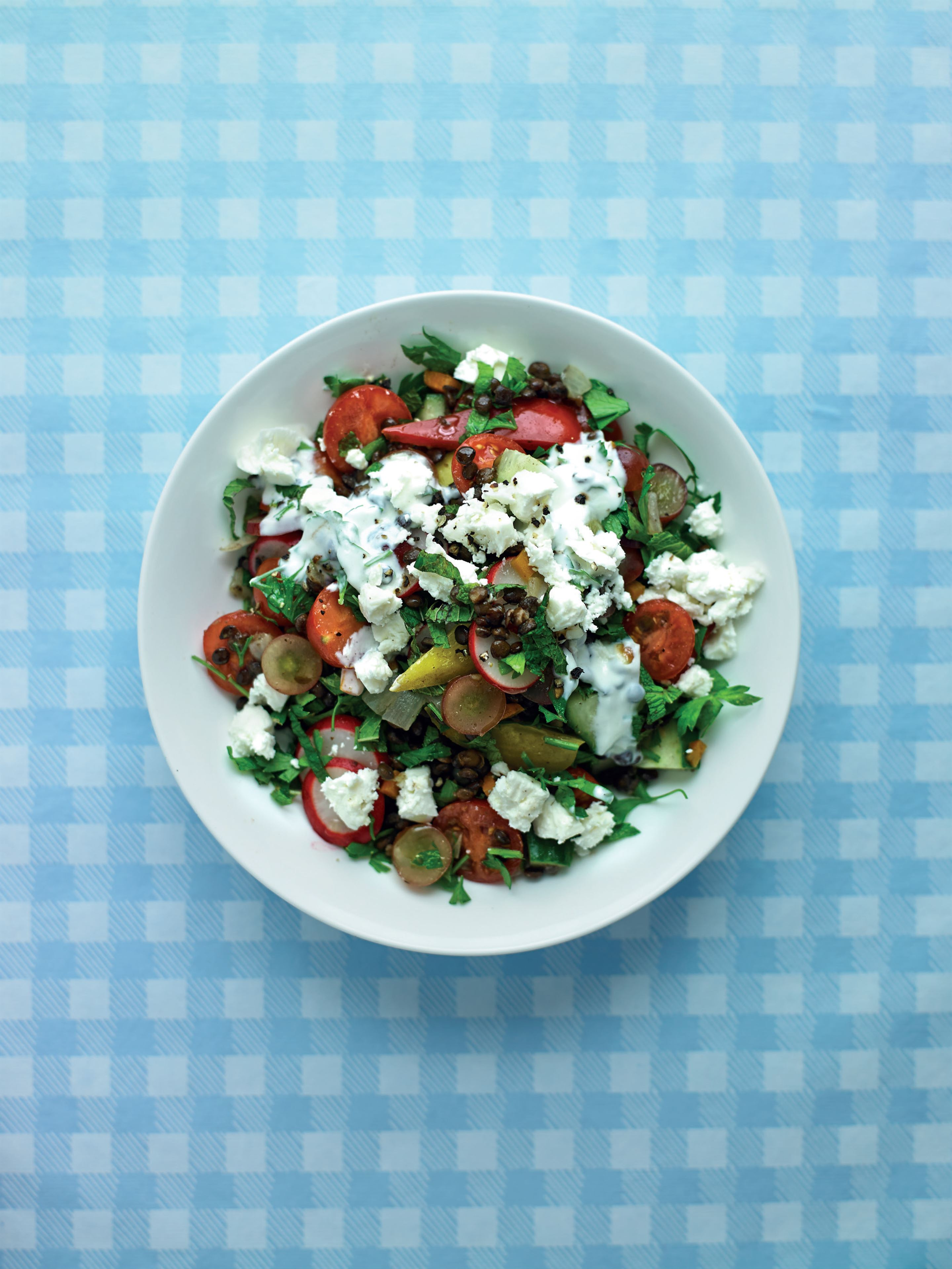 'Tabbouleh' with lentils, red grapes and feta