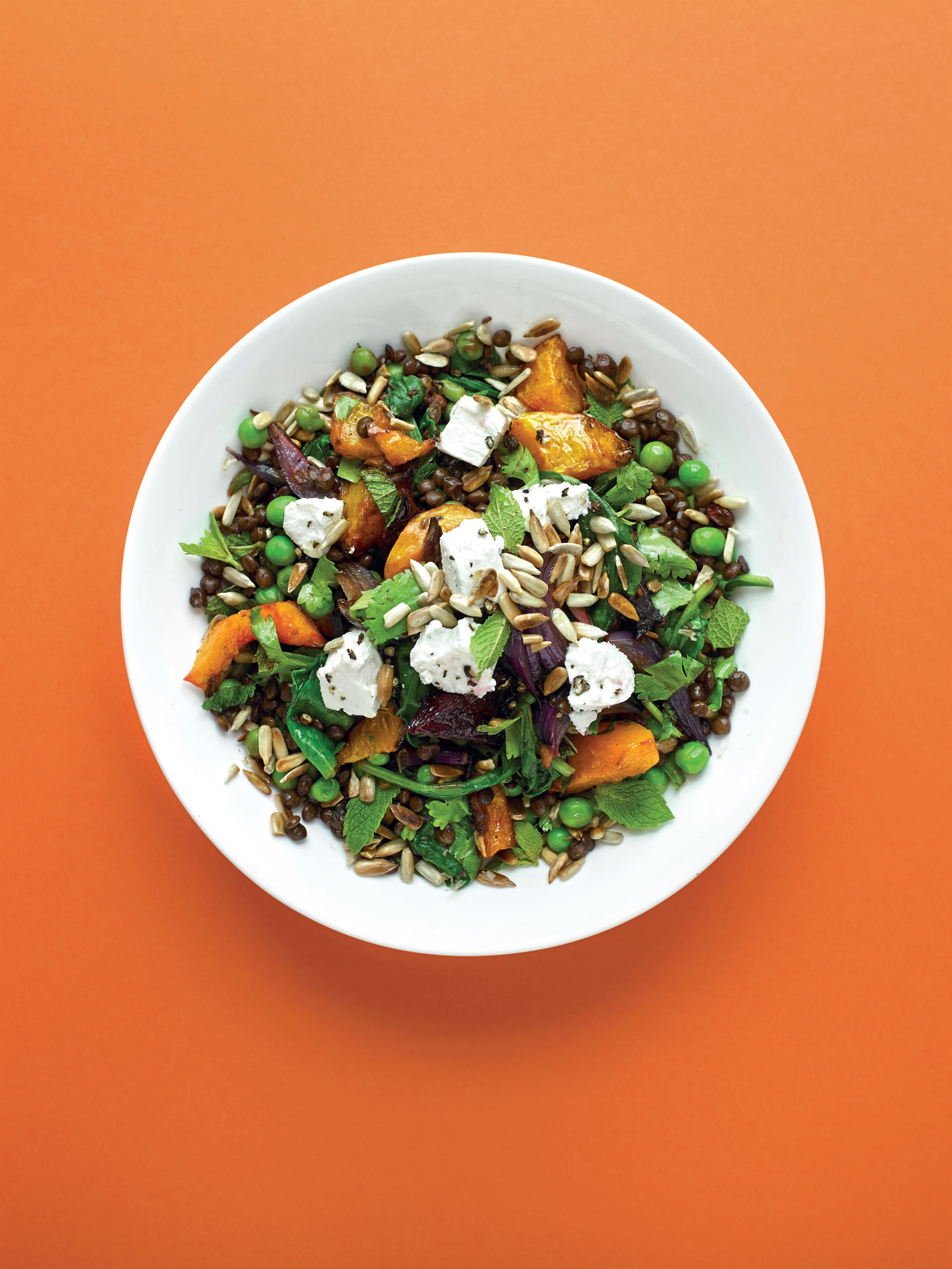 Roast beetroot, squash and lentil salad with goat's cheese