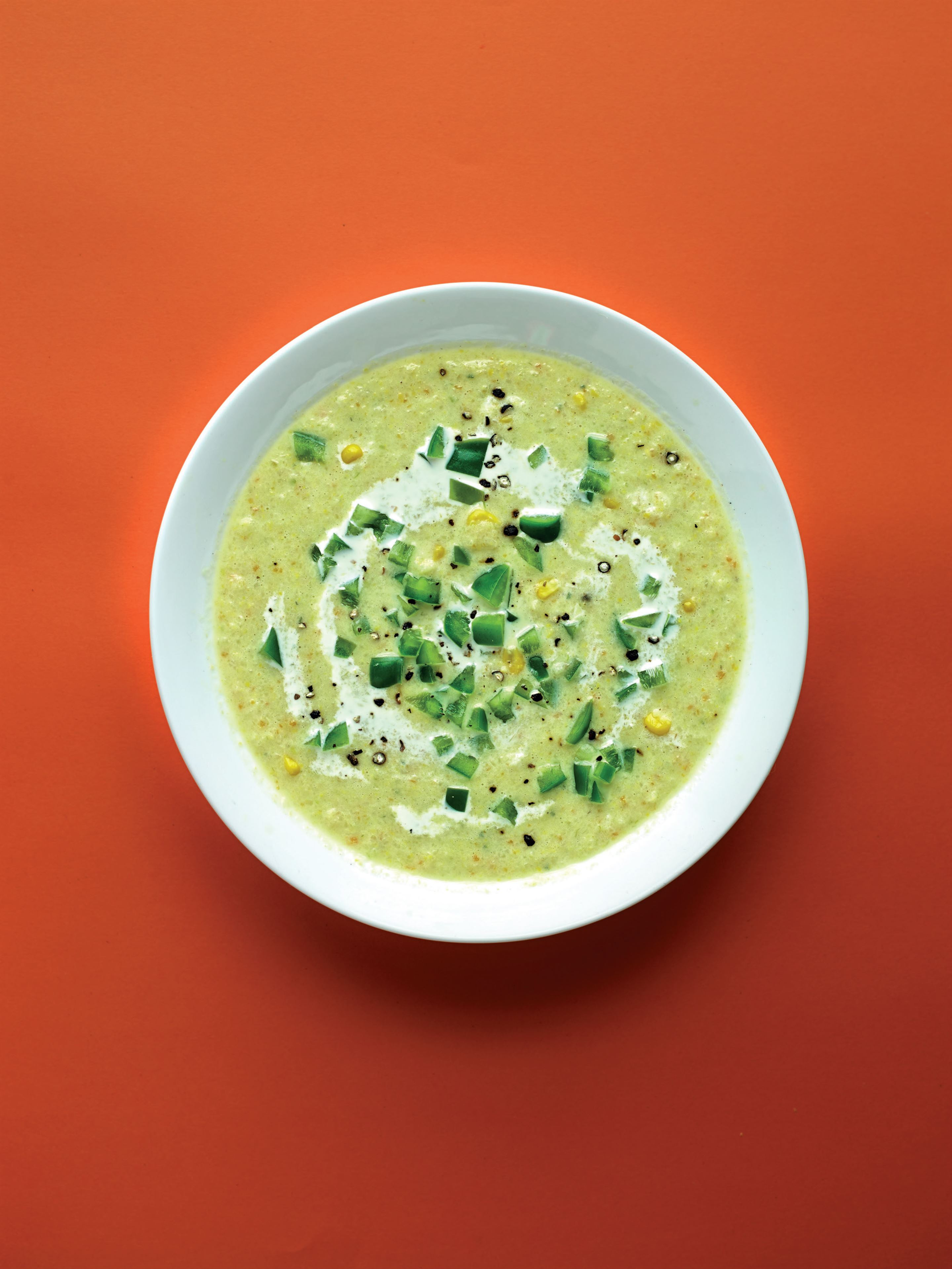 Corn chowder with green peppers