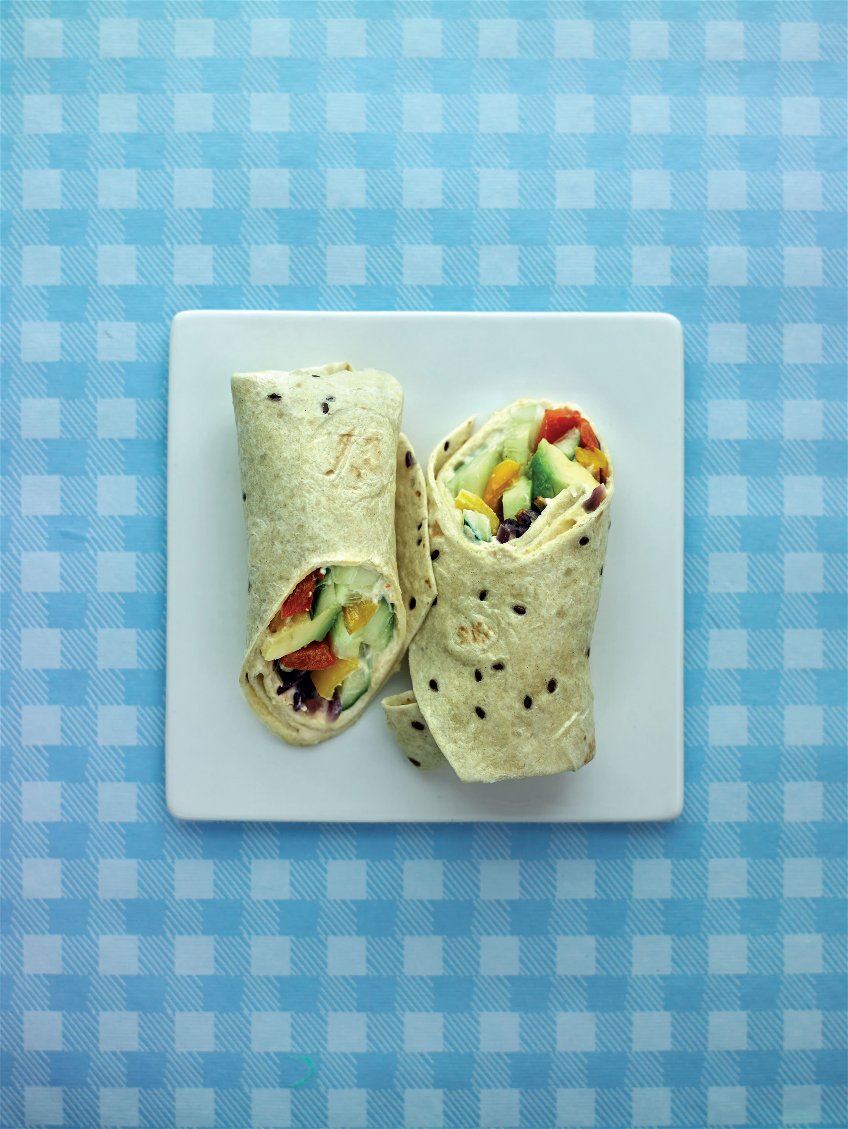 Vegetable and houmous wrap