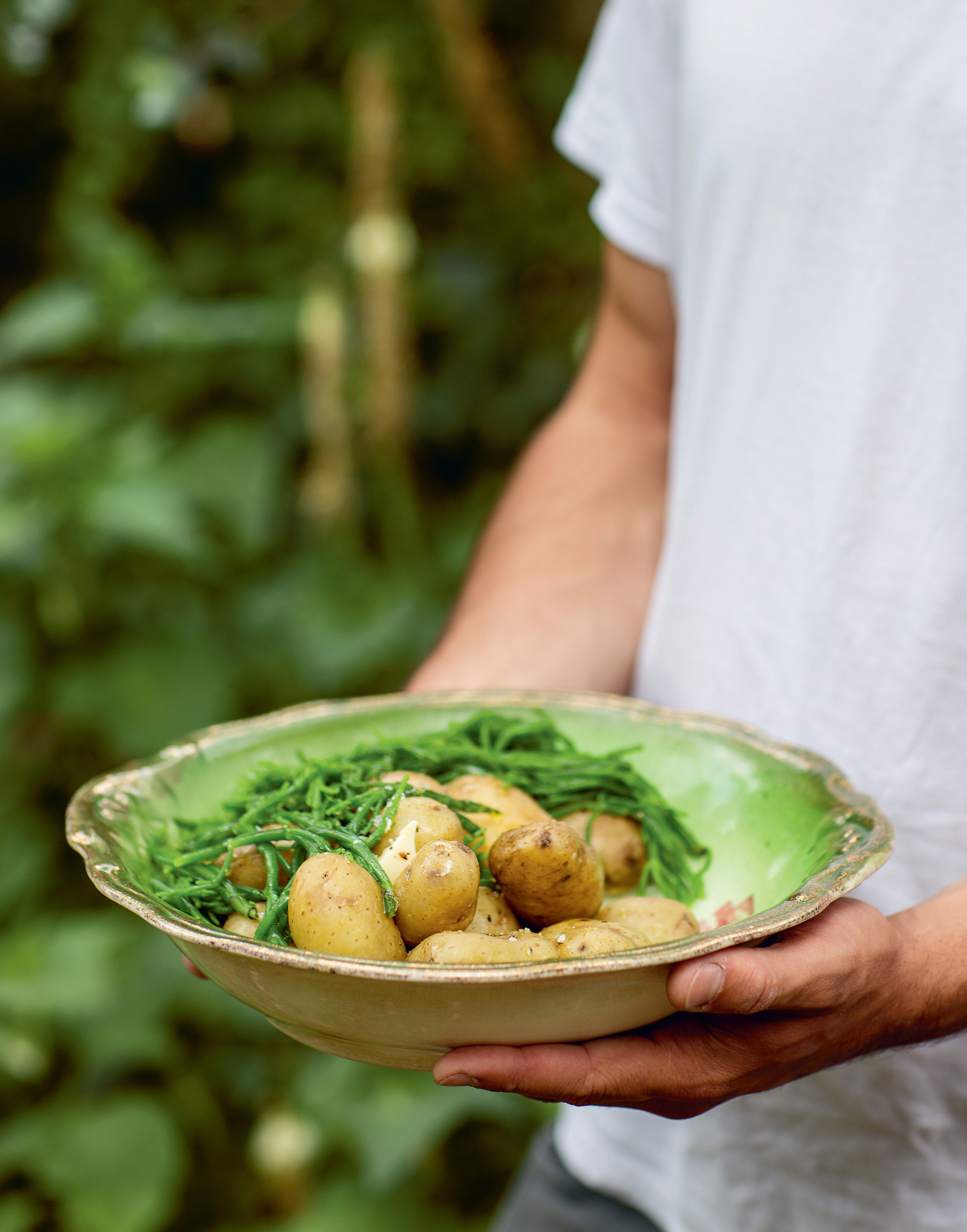 Jersey Royals with samphire