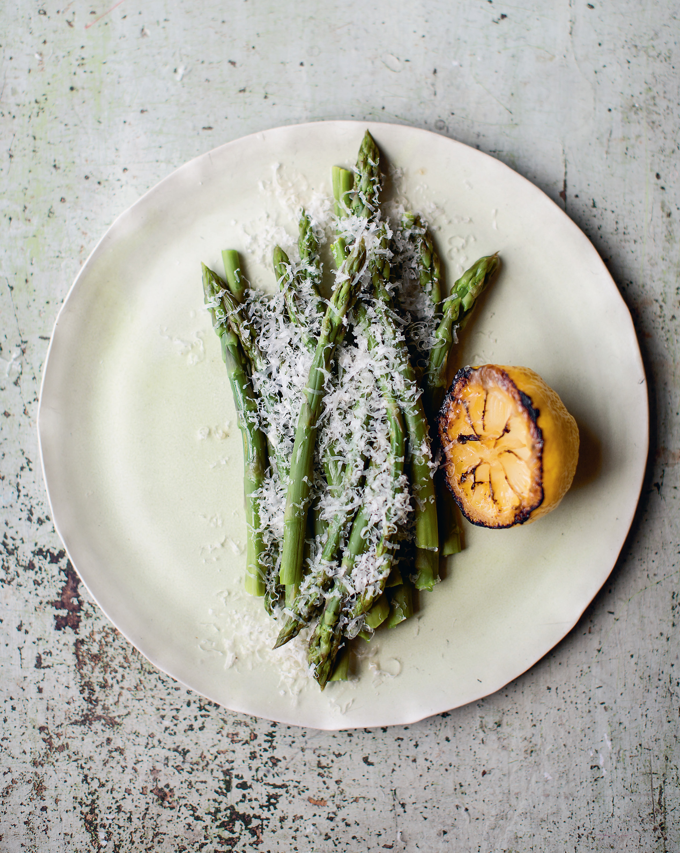 Asparagus with charred lemon butter + Parmesan