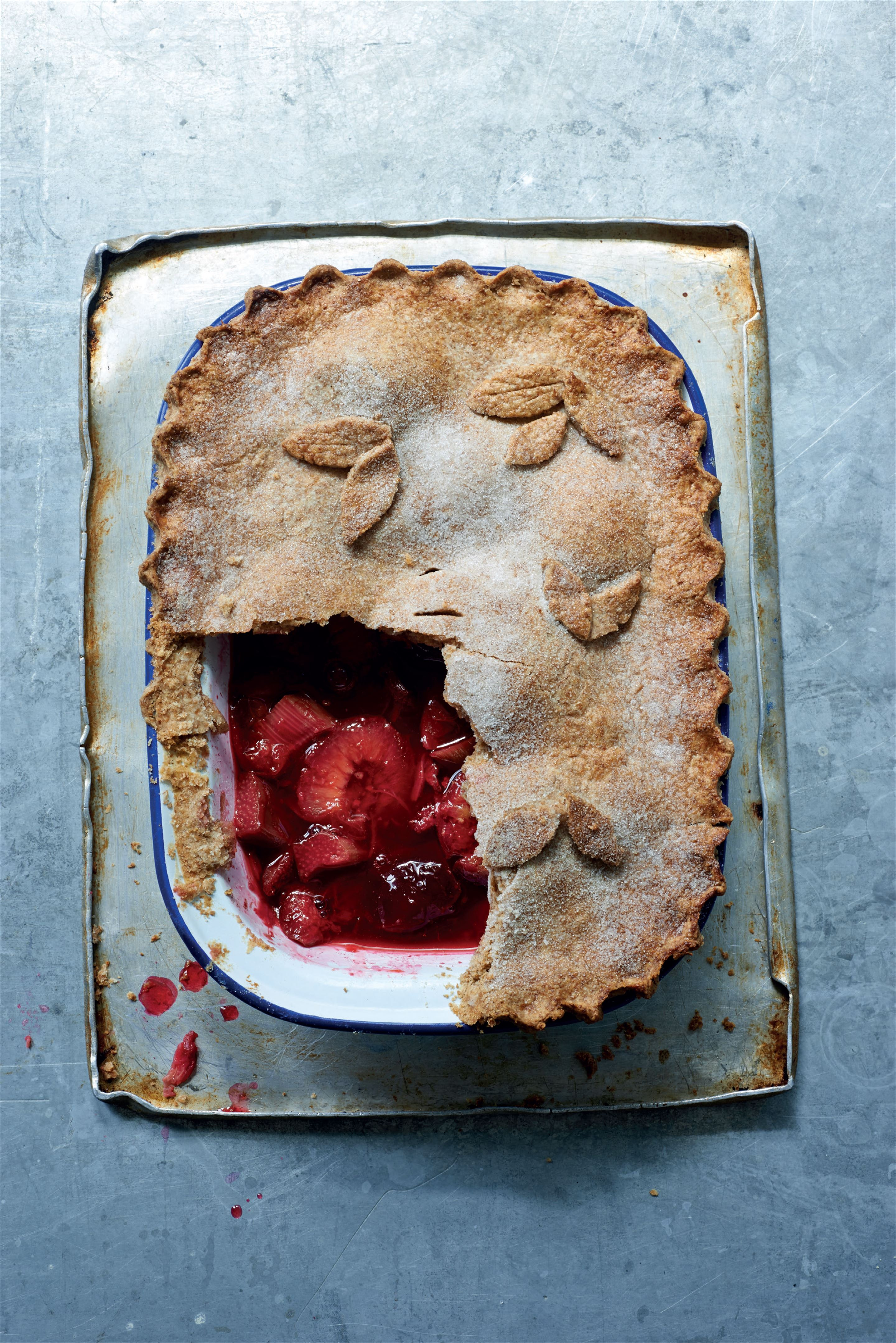 Plum and rhubarb pie
