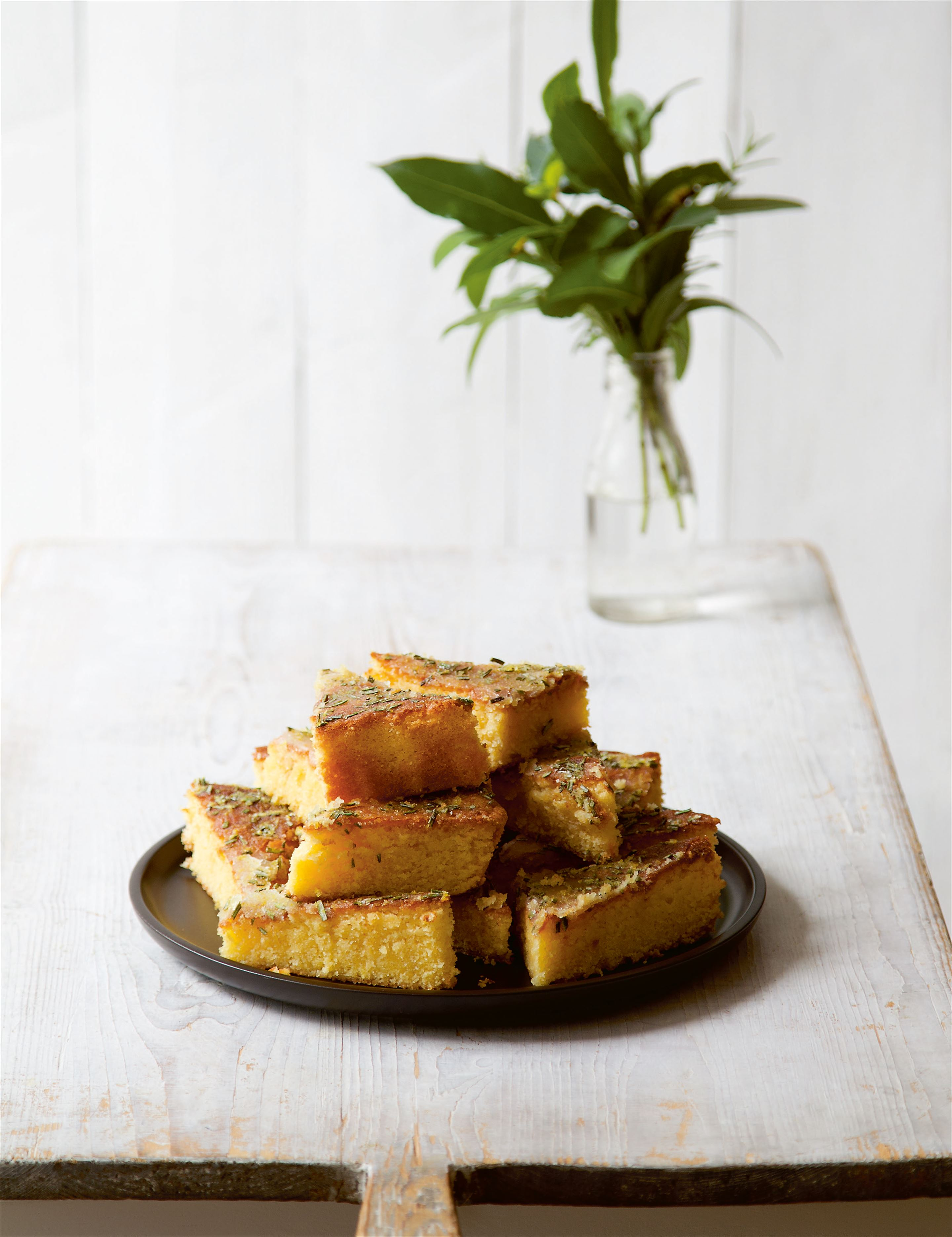 Lemon, cornmeal and rosemary tray bake