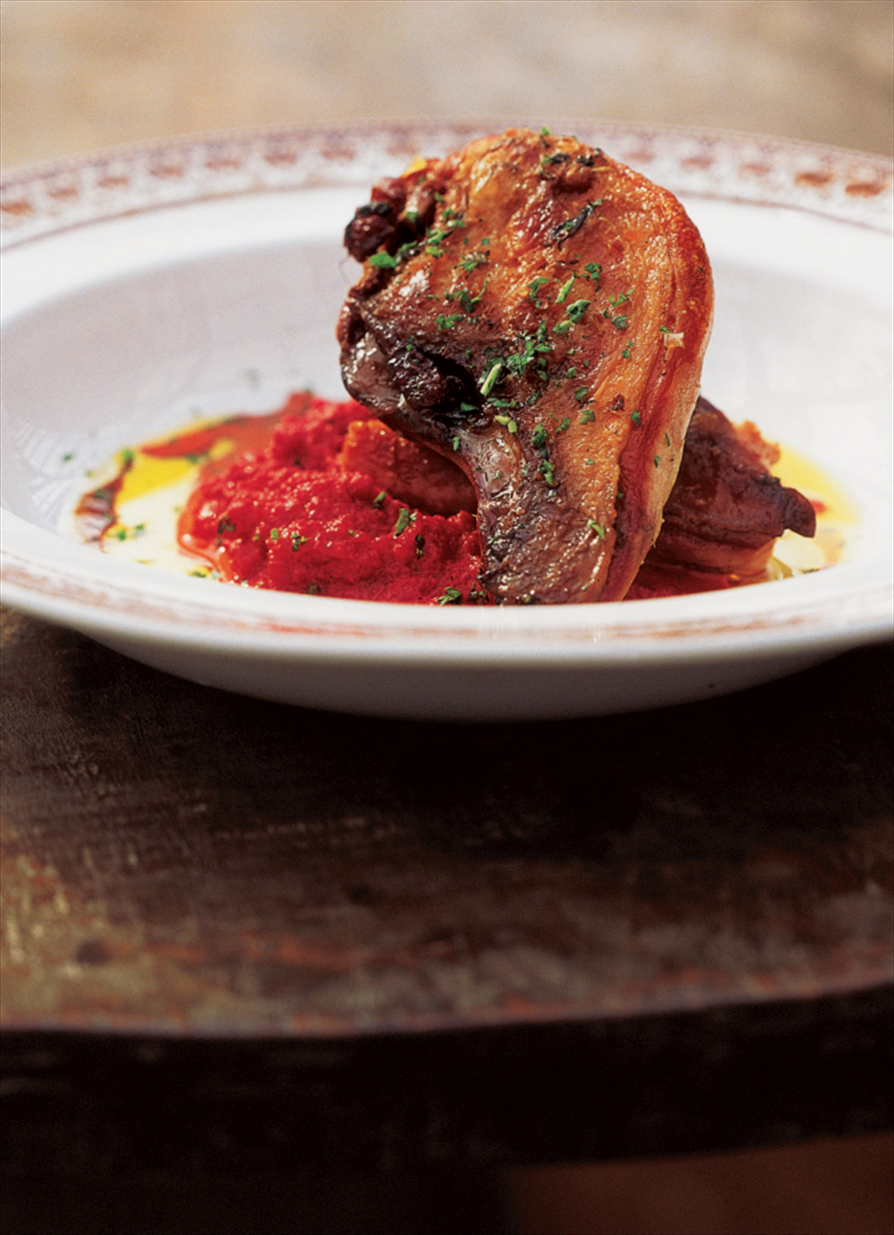 Pheasant with beetroot and roasted tomato purée