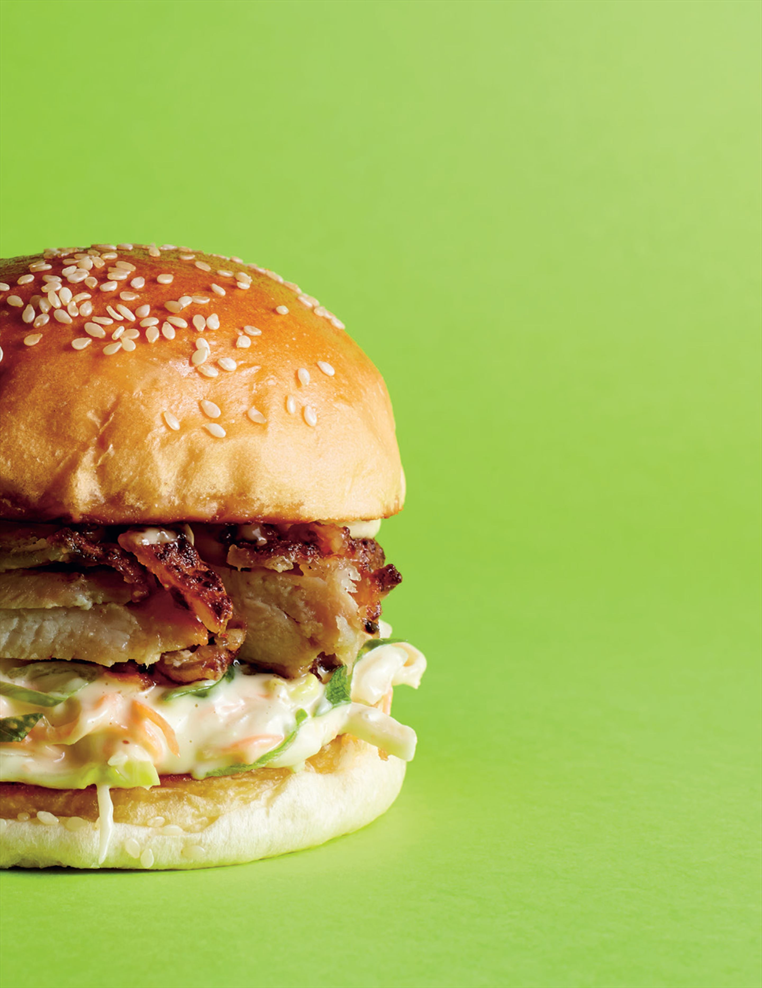 Karaage chicken burger with wombok slaw & pickled ginger mayo
