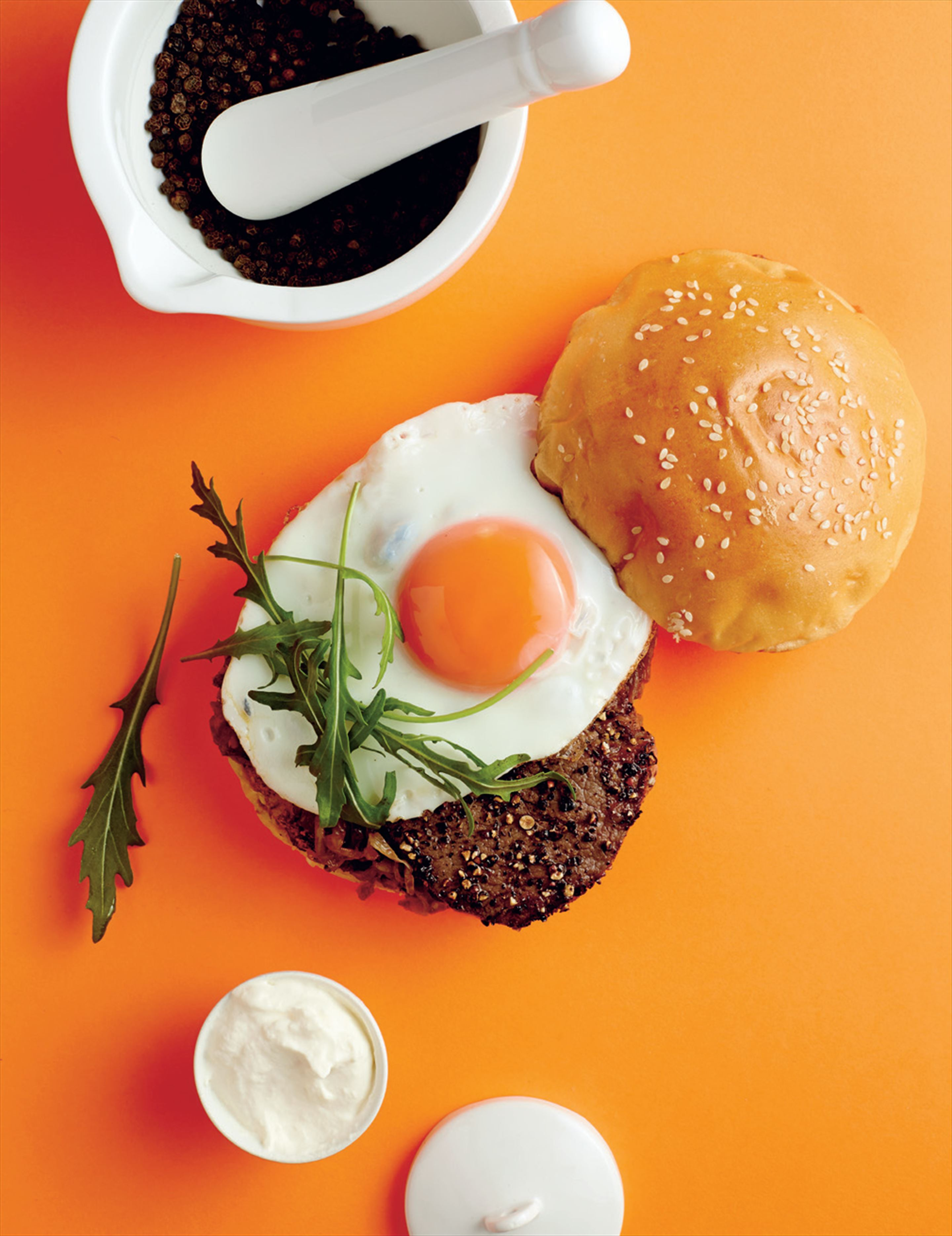 Peppered steak burger with caramelised onion & horseradish cream