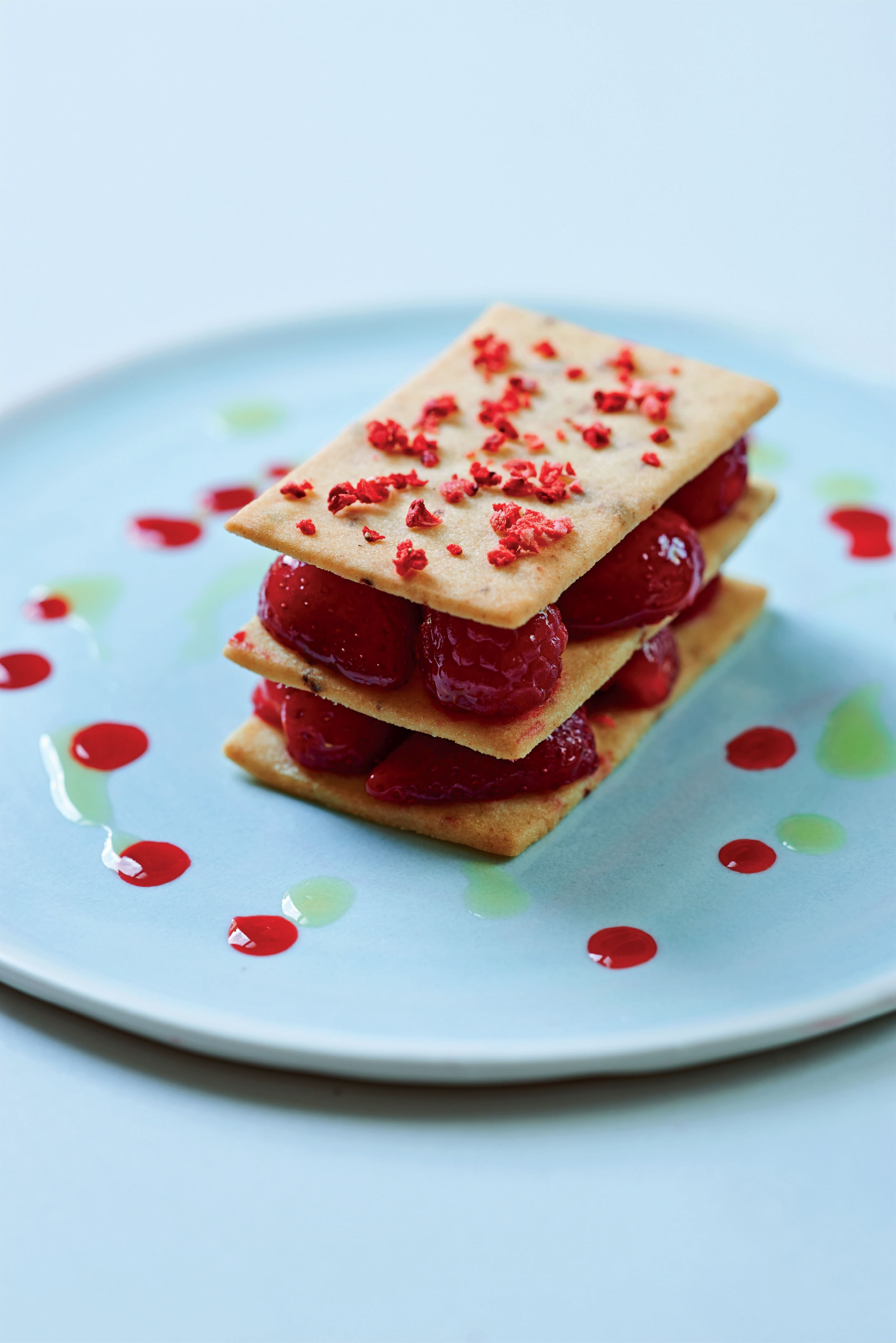 Wild strawberry and raspberry sablées