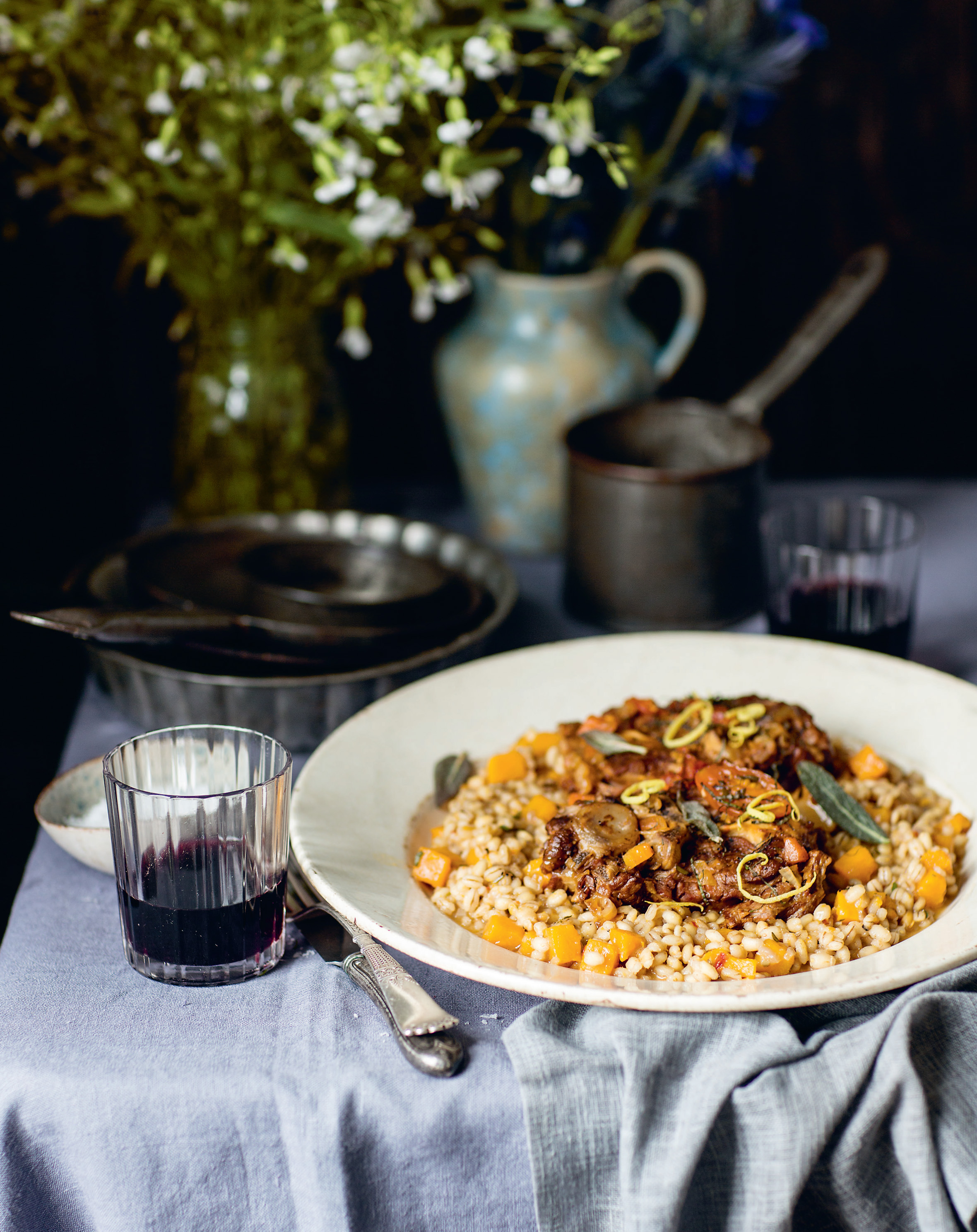 Lamb neck osso buco with pearl barley + squash risotto