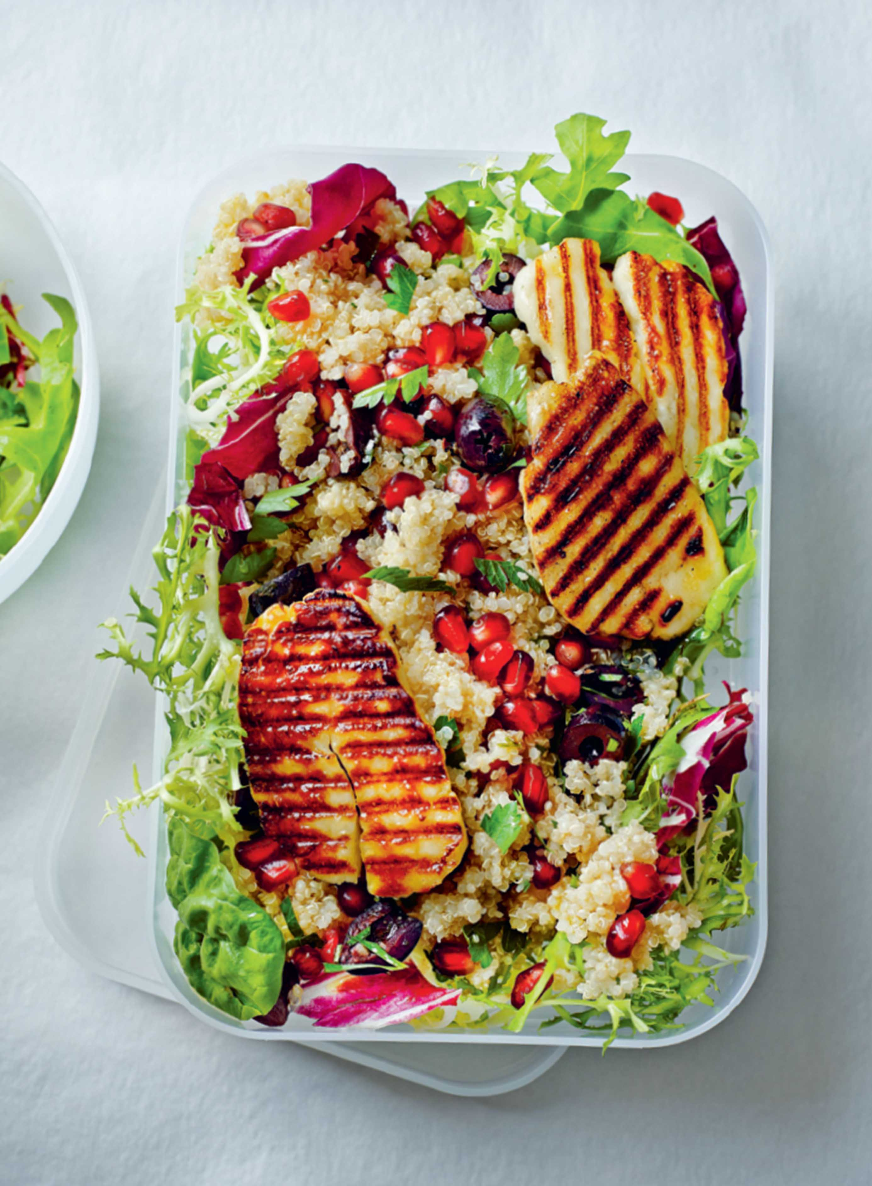 Grilled halloumi with pomegranate quinoa salad